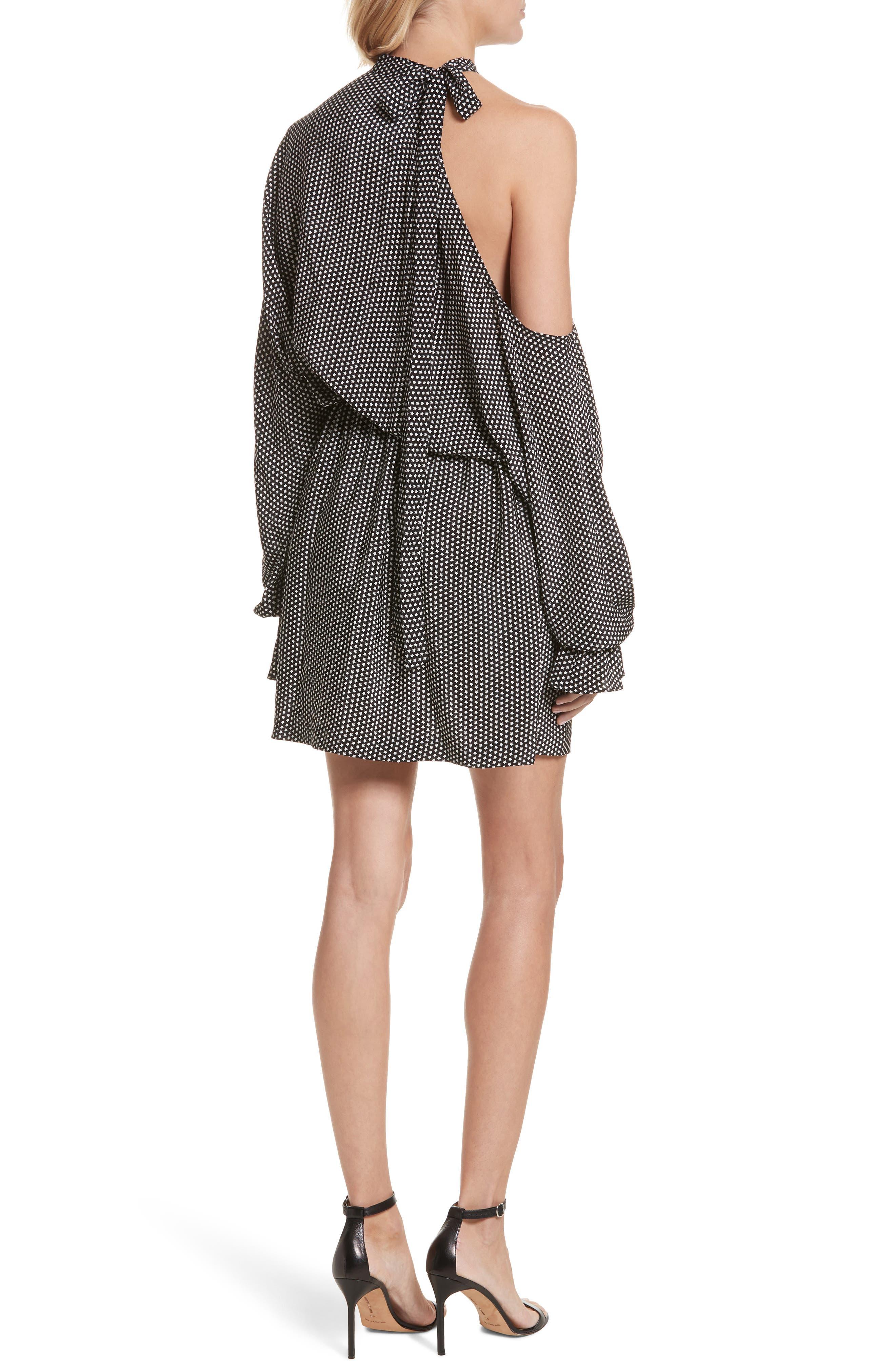 Star Print Cold Shoulder Silk Dress,                             Alternate thumbnail 2, color,                             001