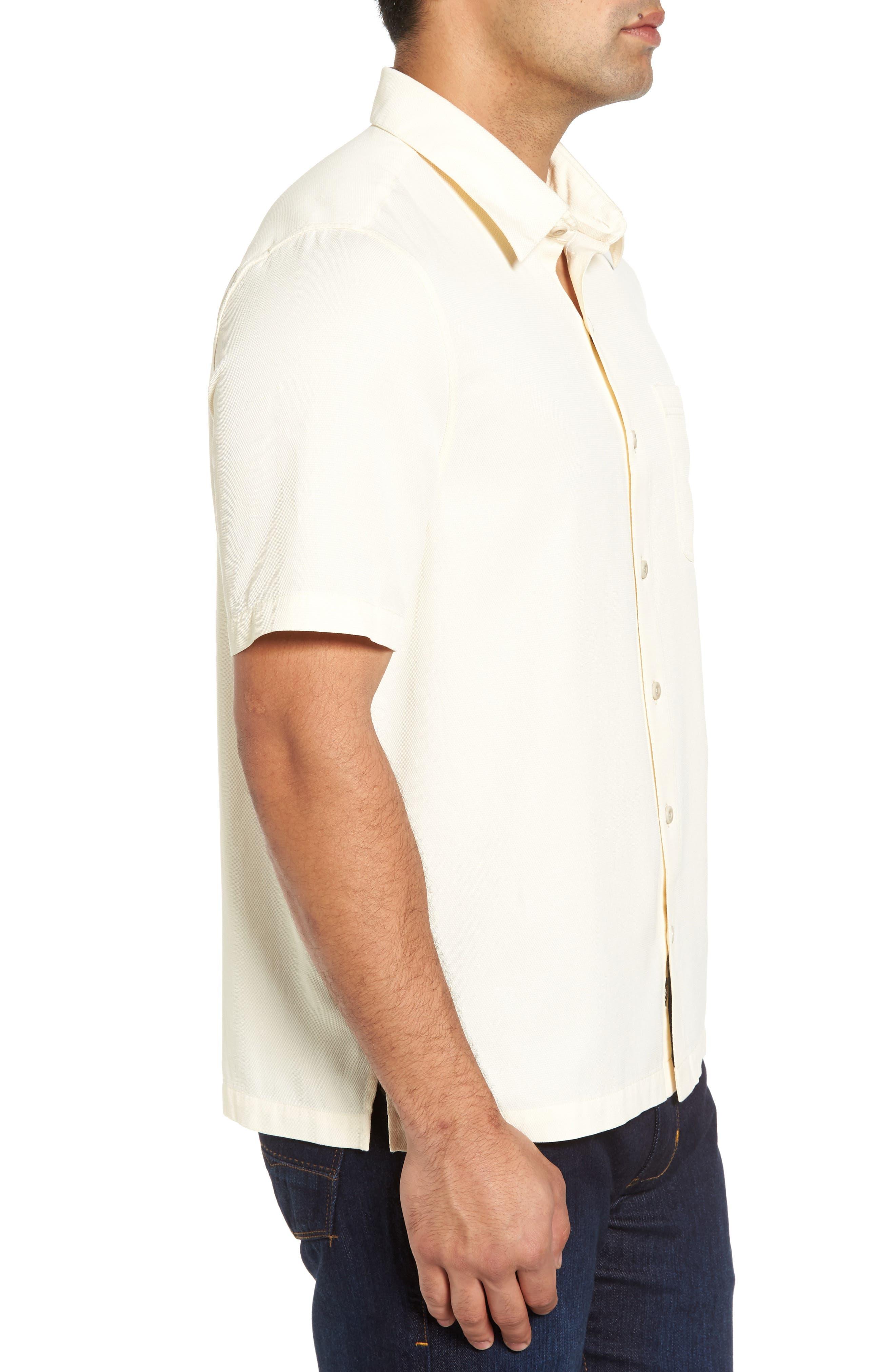 'Havana Cloth' Regular Fit Short Sleeve Silk & Cotton Sport Shirt,                             Alternate thumbnail 3, color,                             100