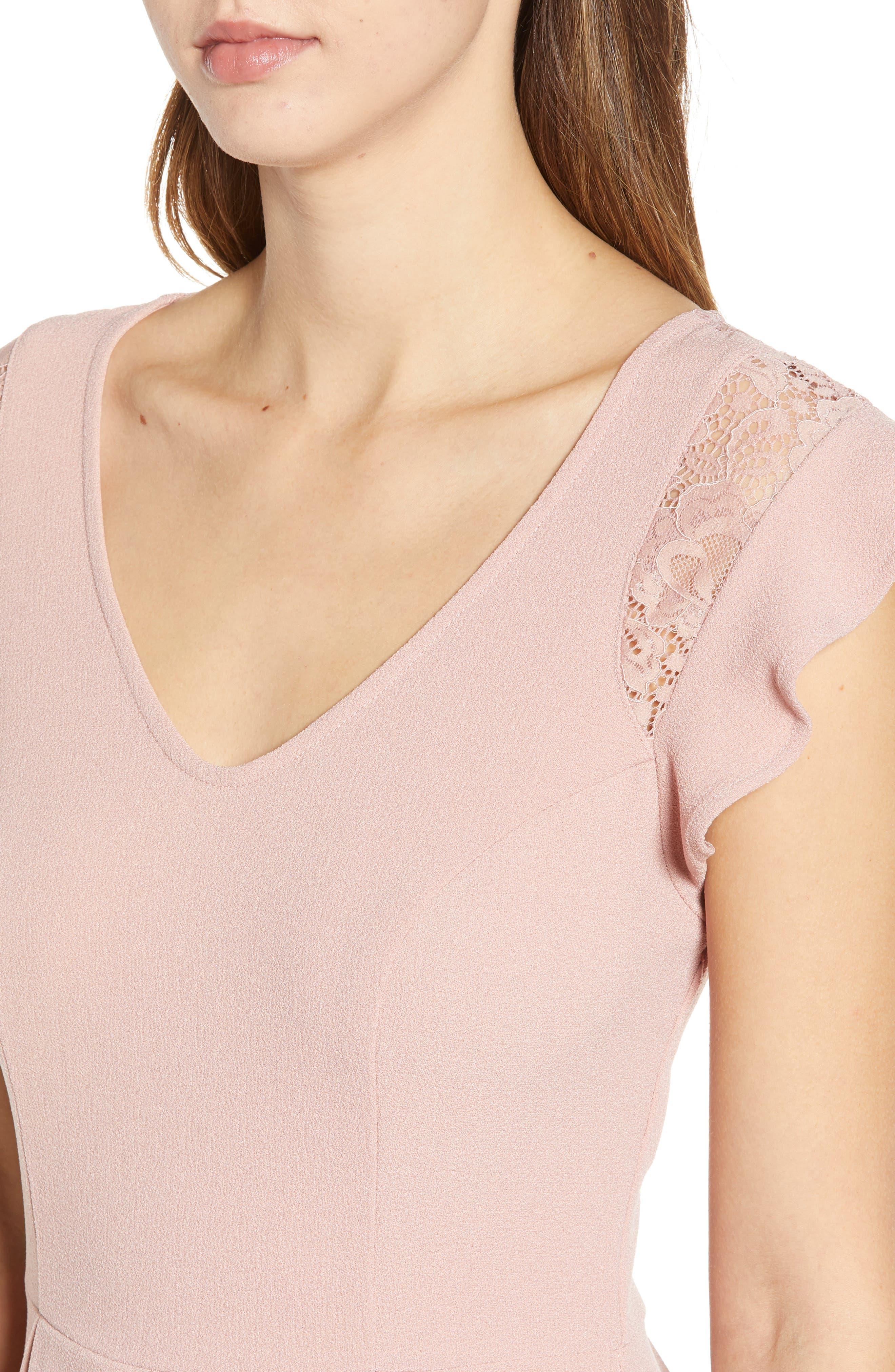 SPEECHLESS,                             Crepe Flutter Sleeve Fit & Flare Dress,                             Alternate thumbnail 4, color,                             ANTIQUE ROSE