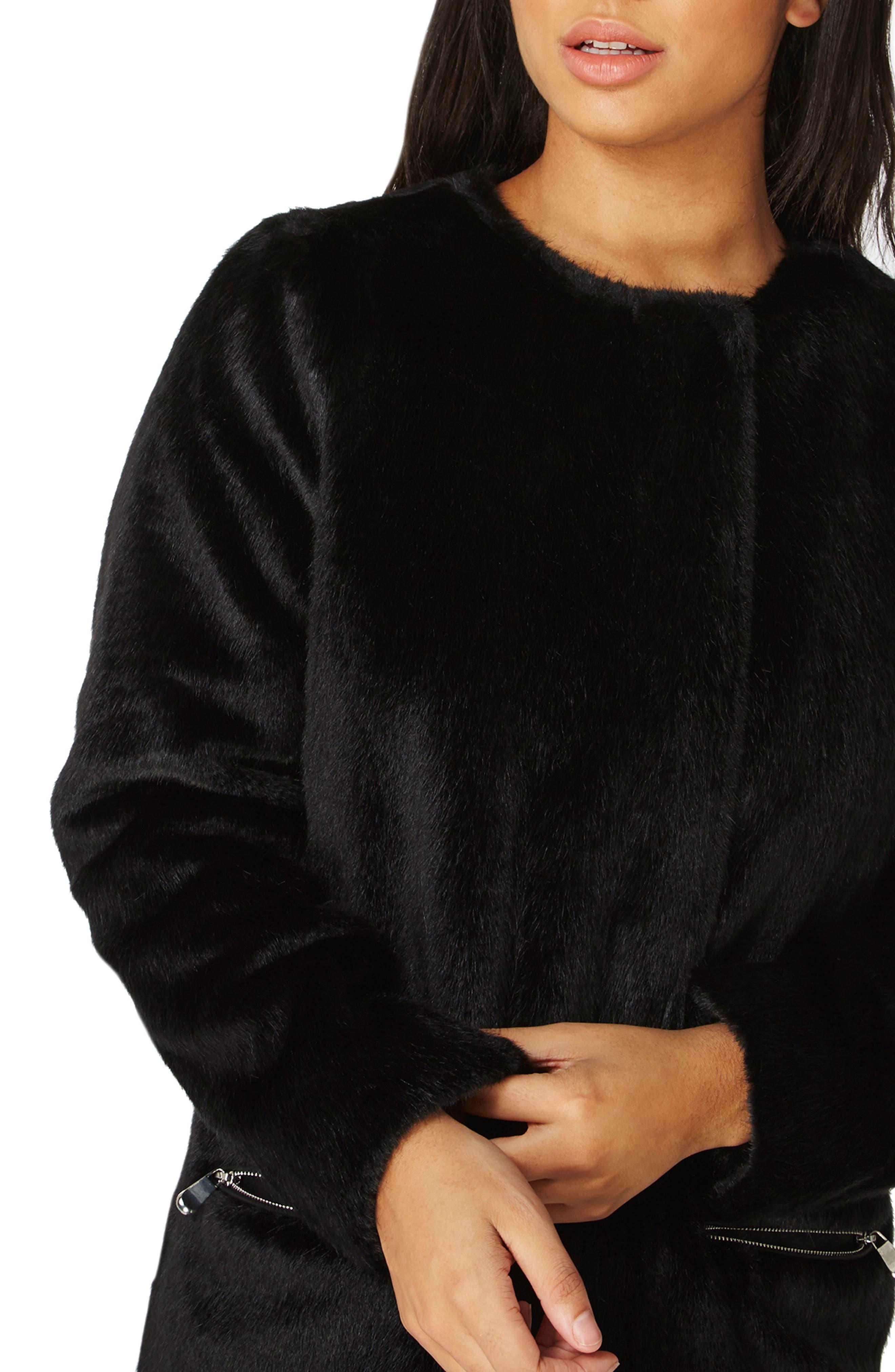 Faux Fur Coat,                             Alternate thumbnail 3, color,