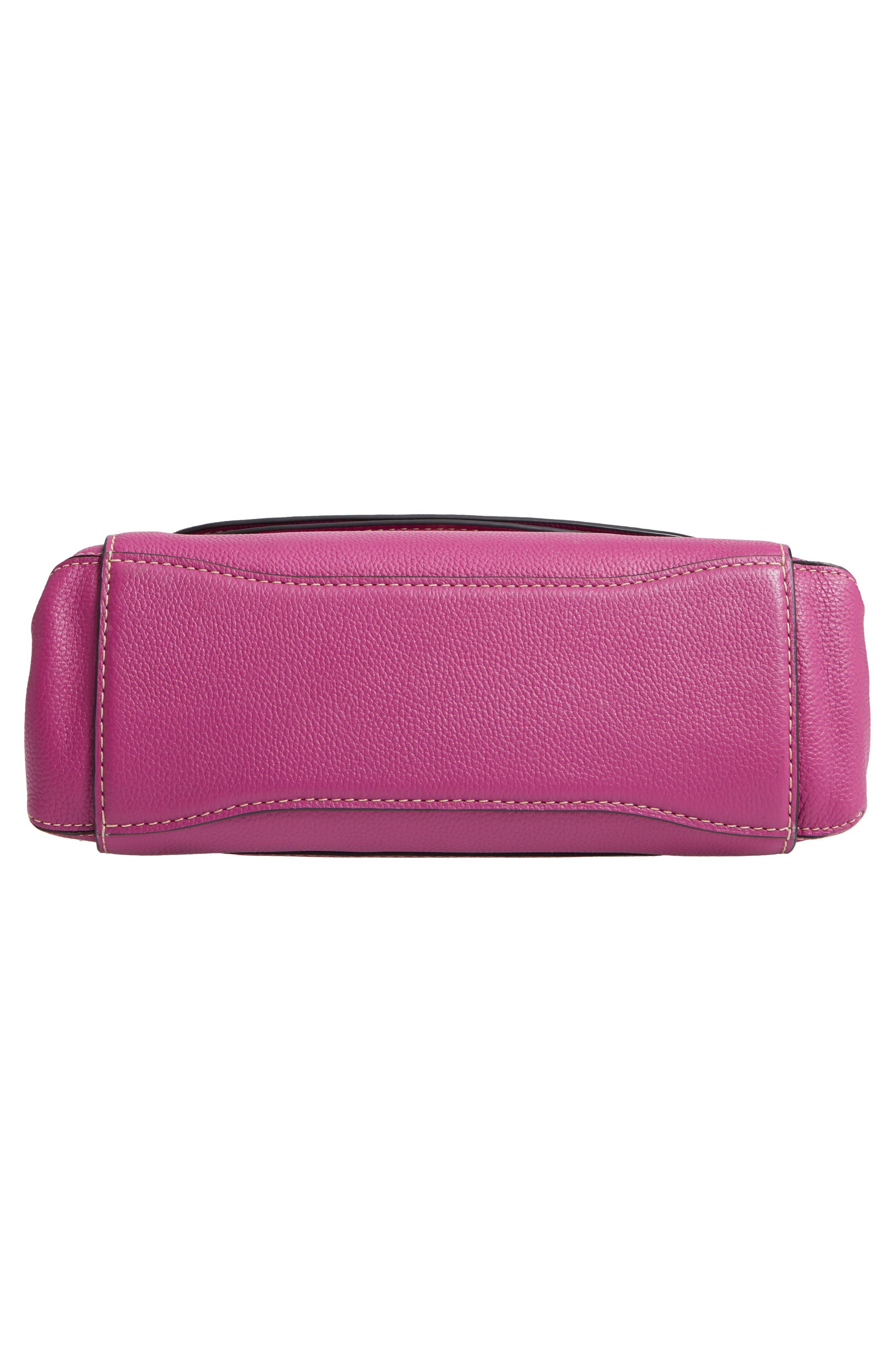 The Grind Boho Leather Shoulder Bag,                             Alternate thumbnail 6, color,                             RHUBARB