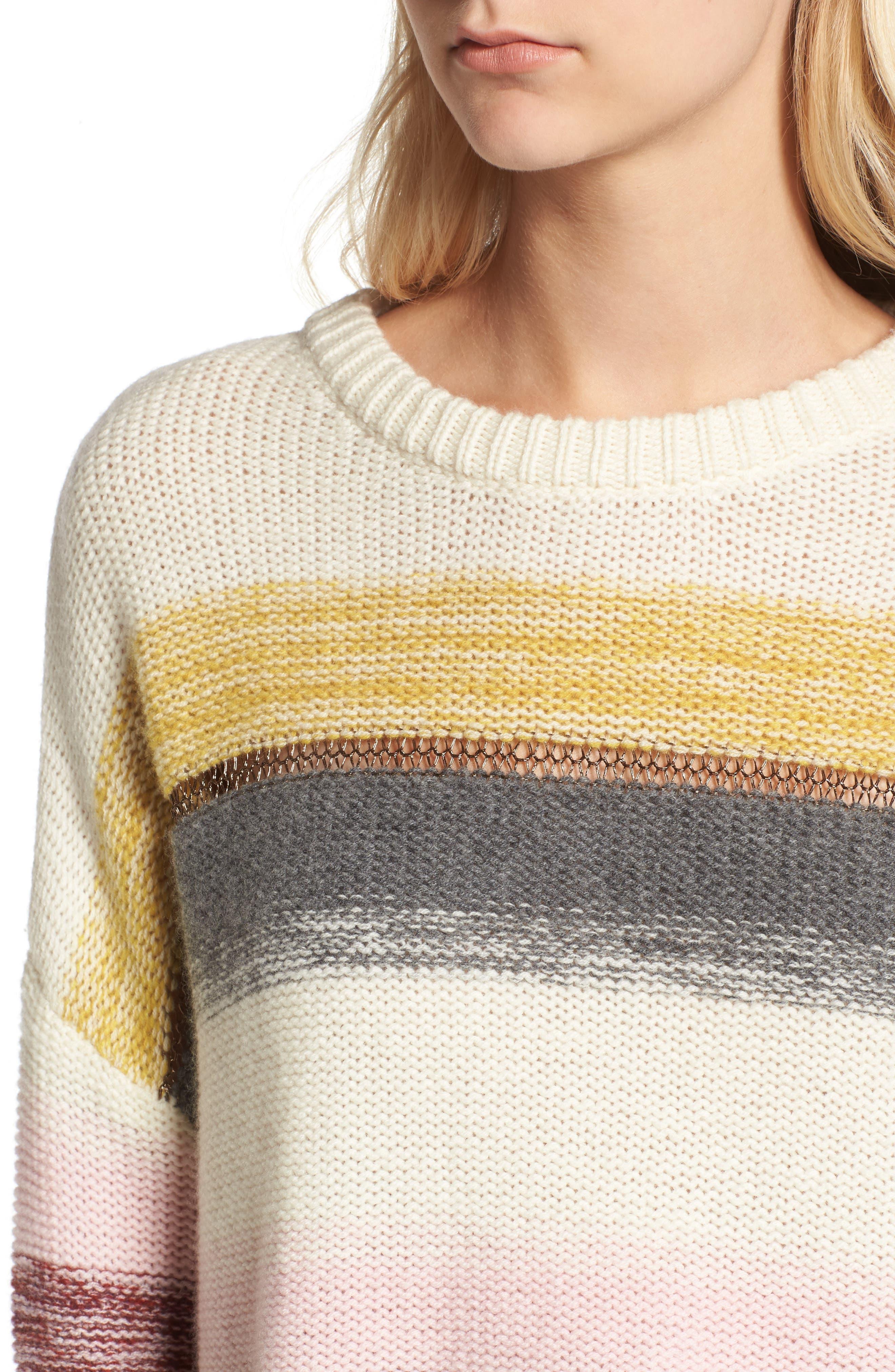Daphne Stripe Wool & Cashmere Sweater,                             Alternate thumbnail 4, color,                             672