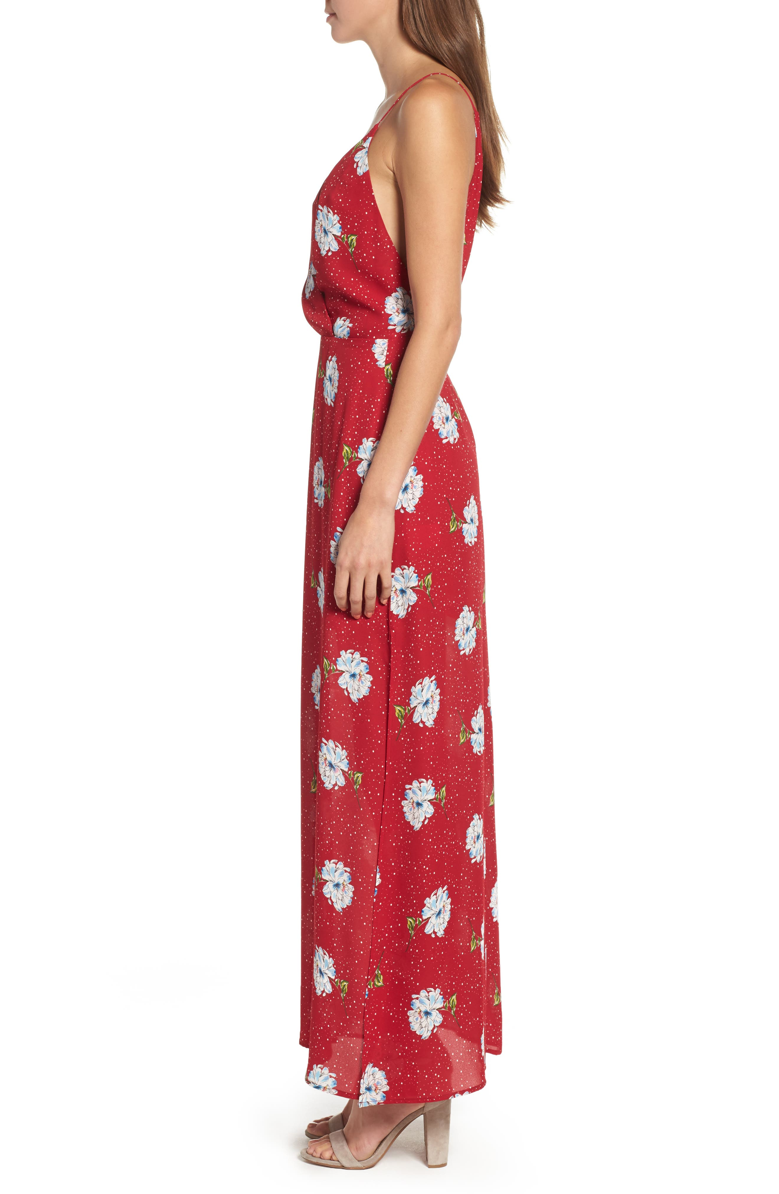 Surplice Maxi Dress,                             Alternate thumbnail 3, color,                             602