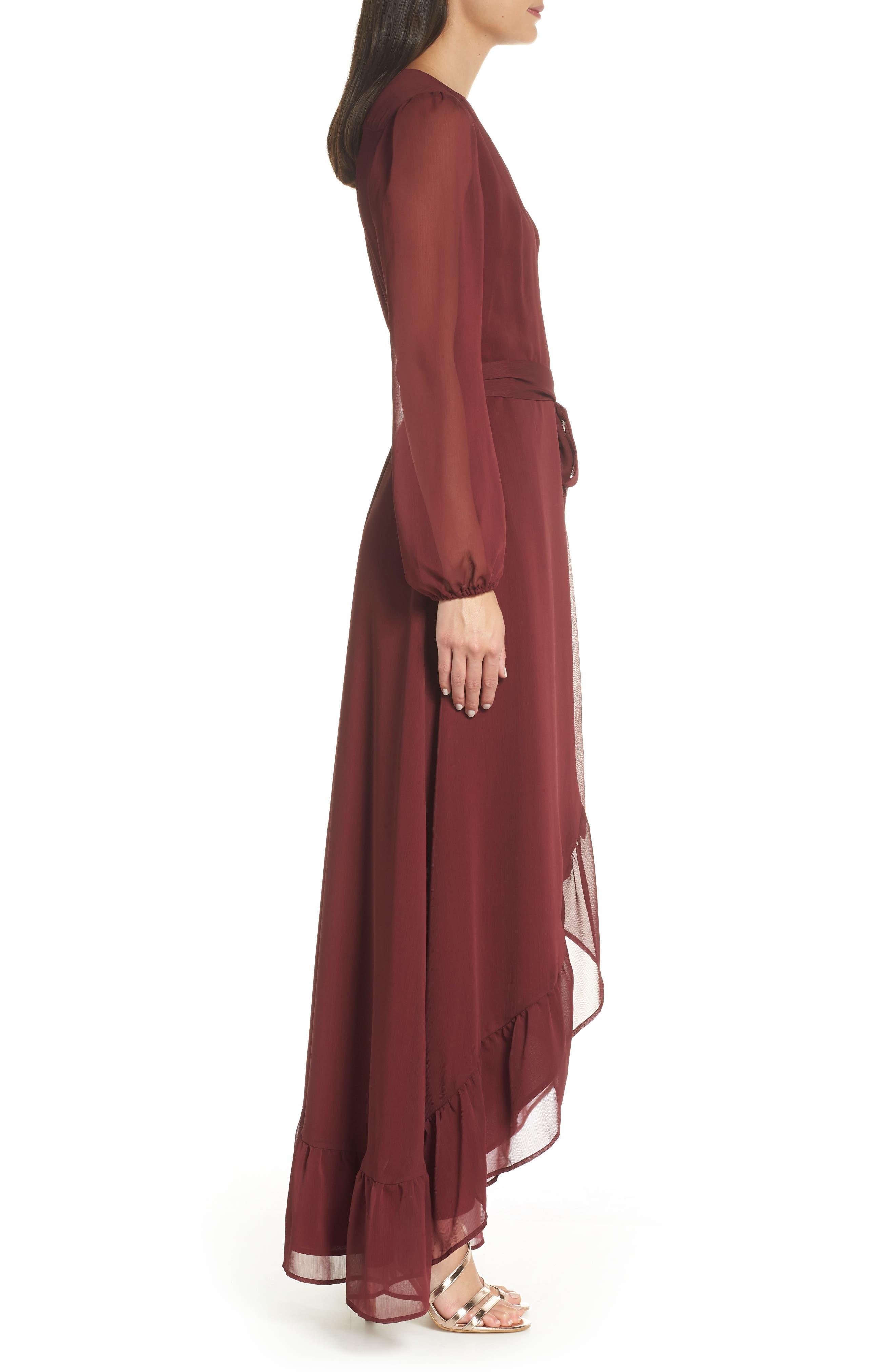 Meryl Long Sleeve Wrap Maxi Dress,                             Alternate thumbnail 3, color,                             CABERNET