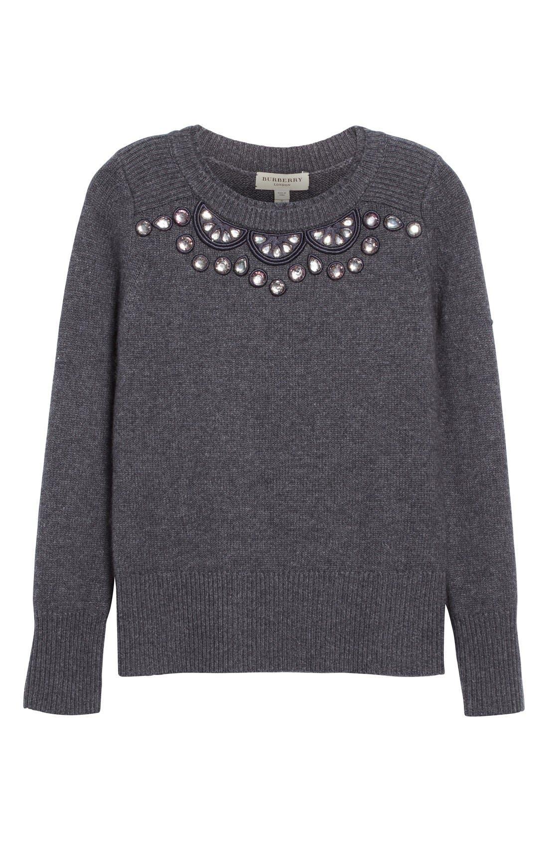 BURBERRY LONDON,                             Embellished Crewneck Sweater,                             Alternate thumbnail 6, color,                             026