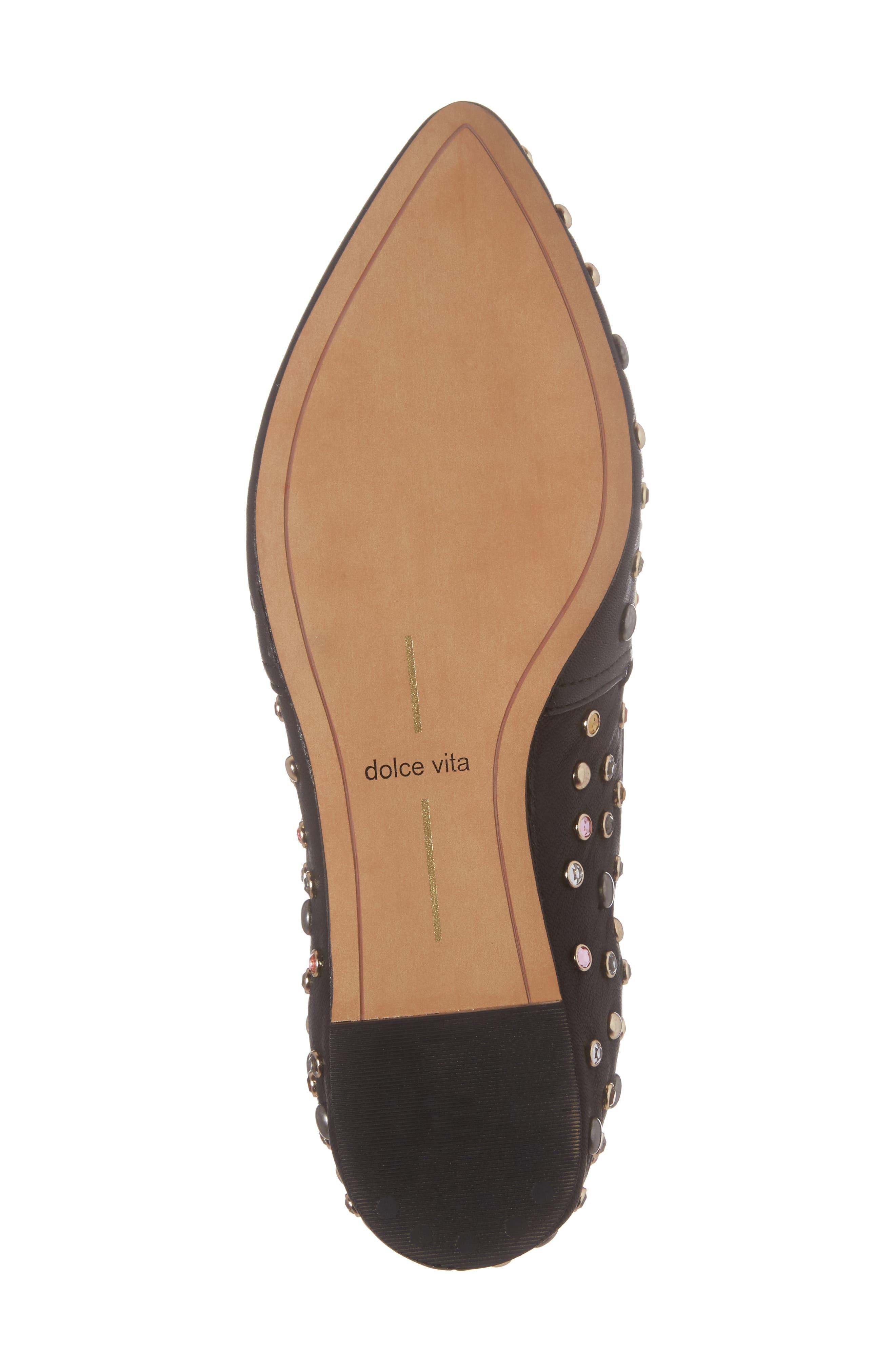 Hamond Stud Embellished Loafer Flat,                             Alternate thumbnail 6, color,                             001