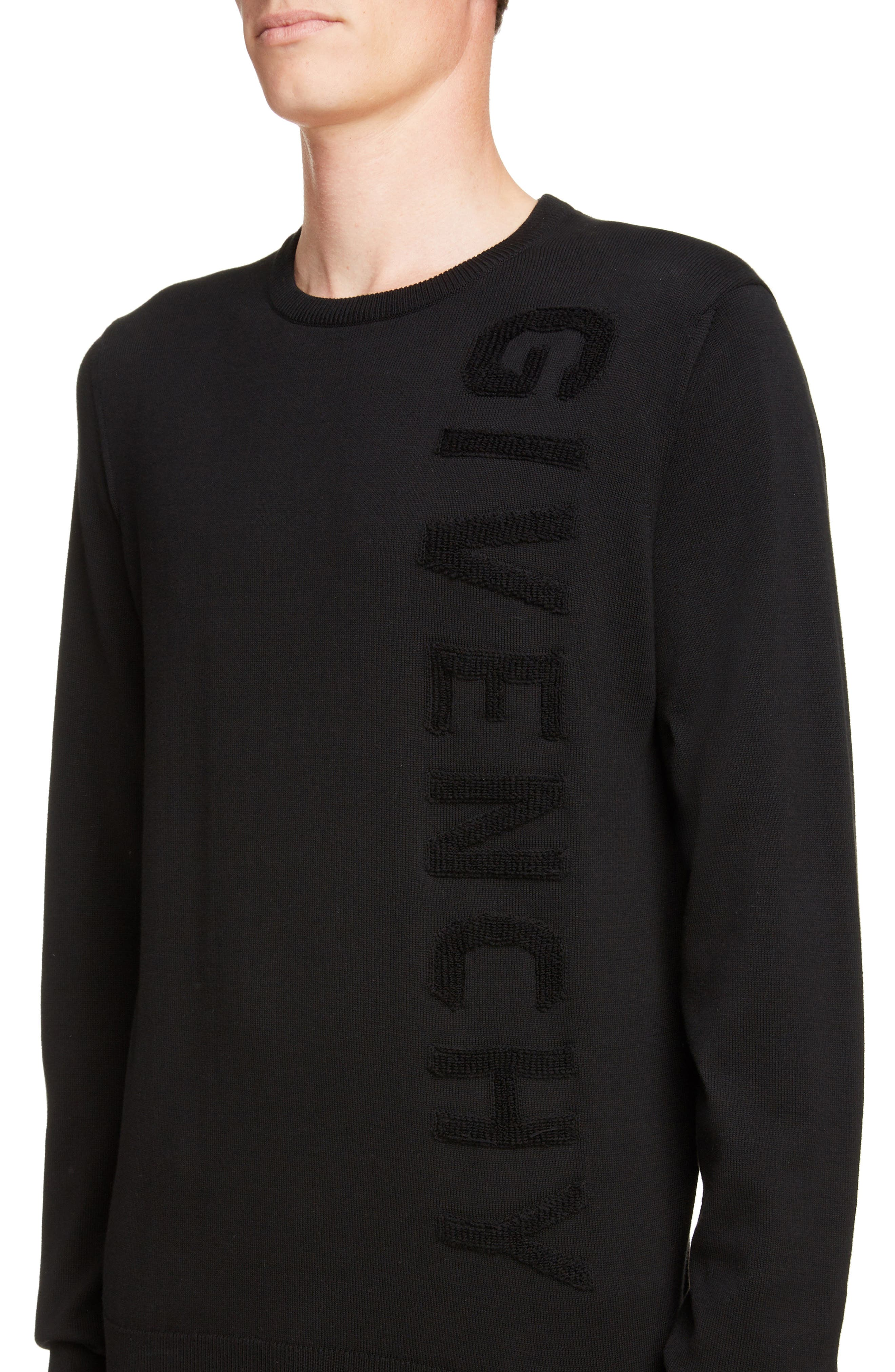 GIVENCHY,                             Tonal Vertical Logo Sweater,                             Alternate thumbnail 4, color,                             BLACK