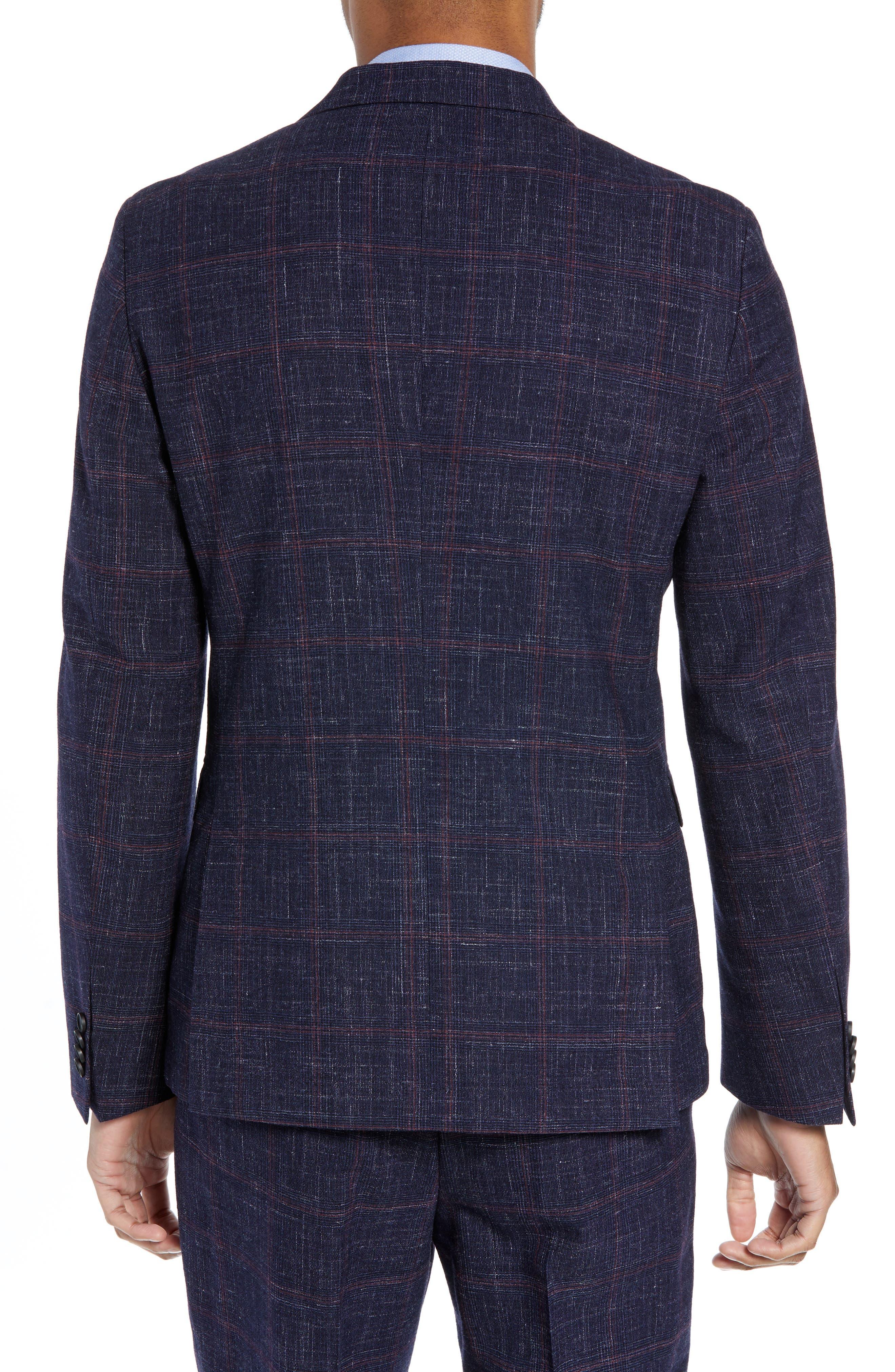 Nobis Trim Fit Plaid Wool Blend Sport Coat,                             Alternate thumbnail 2, color,                             DARK BLUE