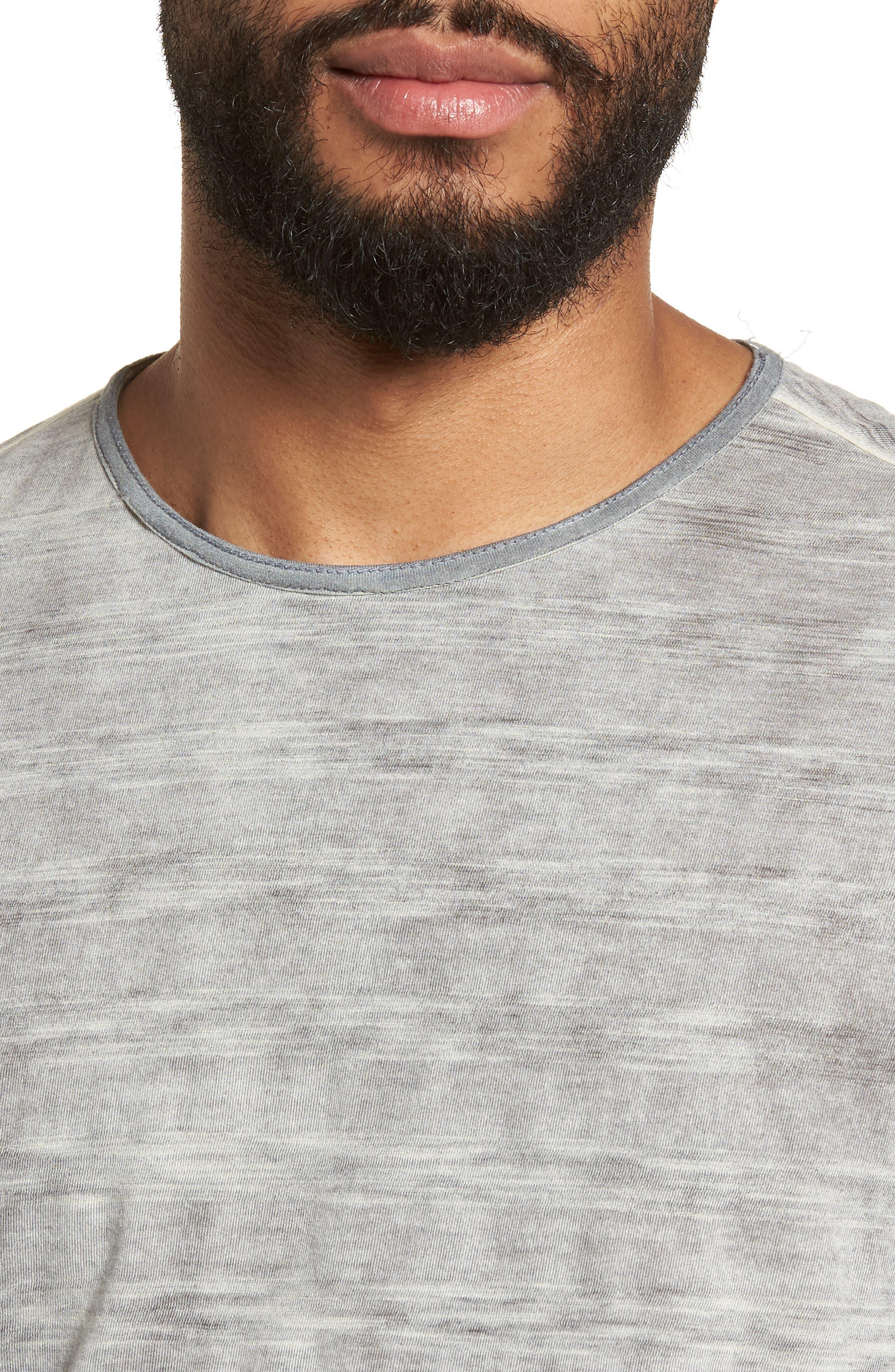 Slim Fit Ombré Stripe T-Shirt,                             Alternate thumbnail 4, color,                             077