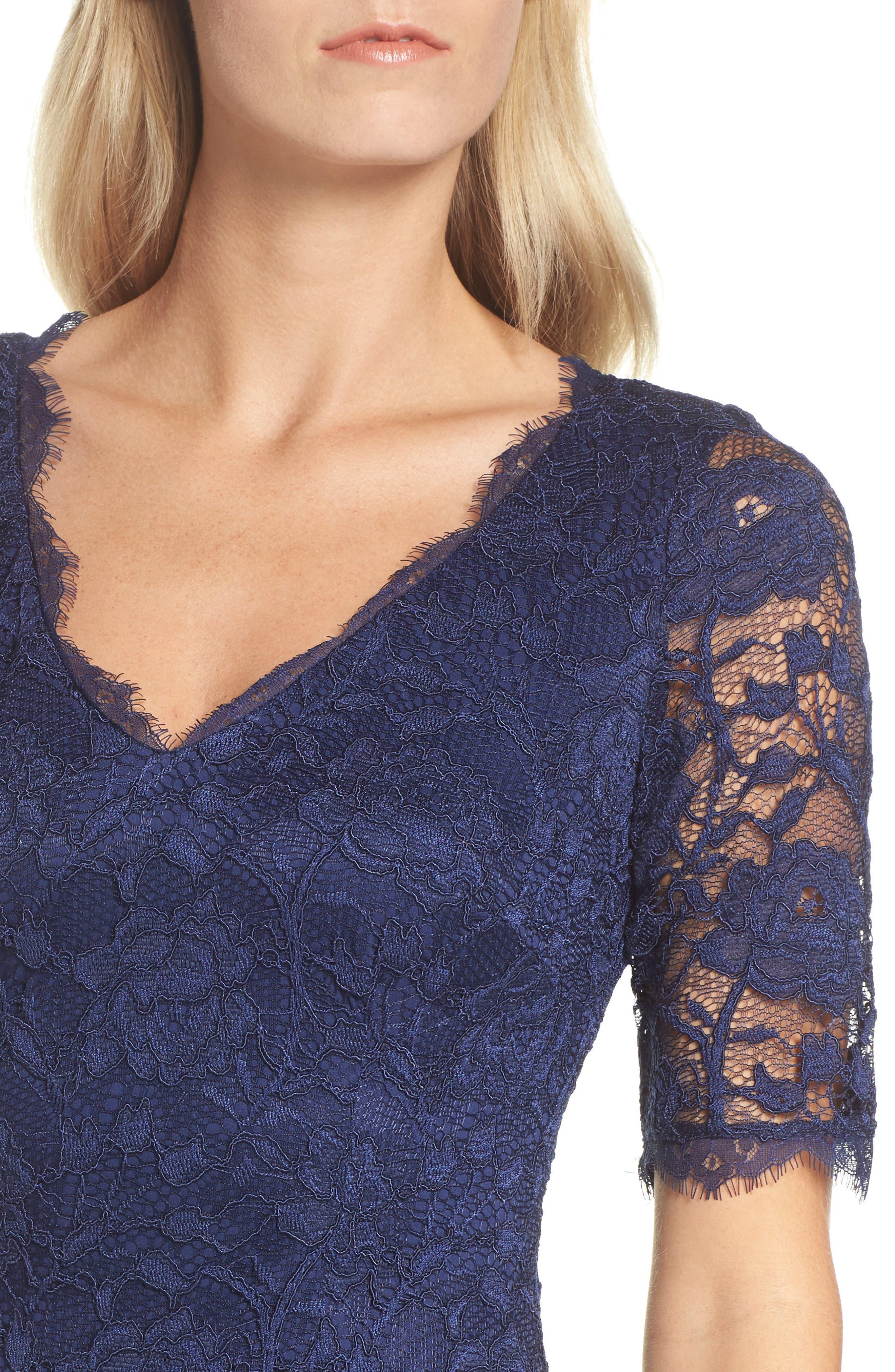 Rose Lace Sheath Dress,                             Alternate thumbnail 4, color,                             412
