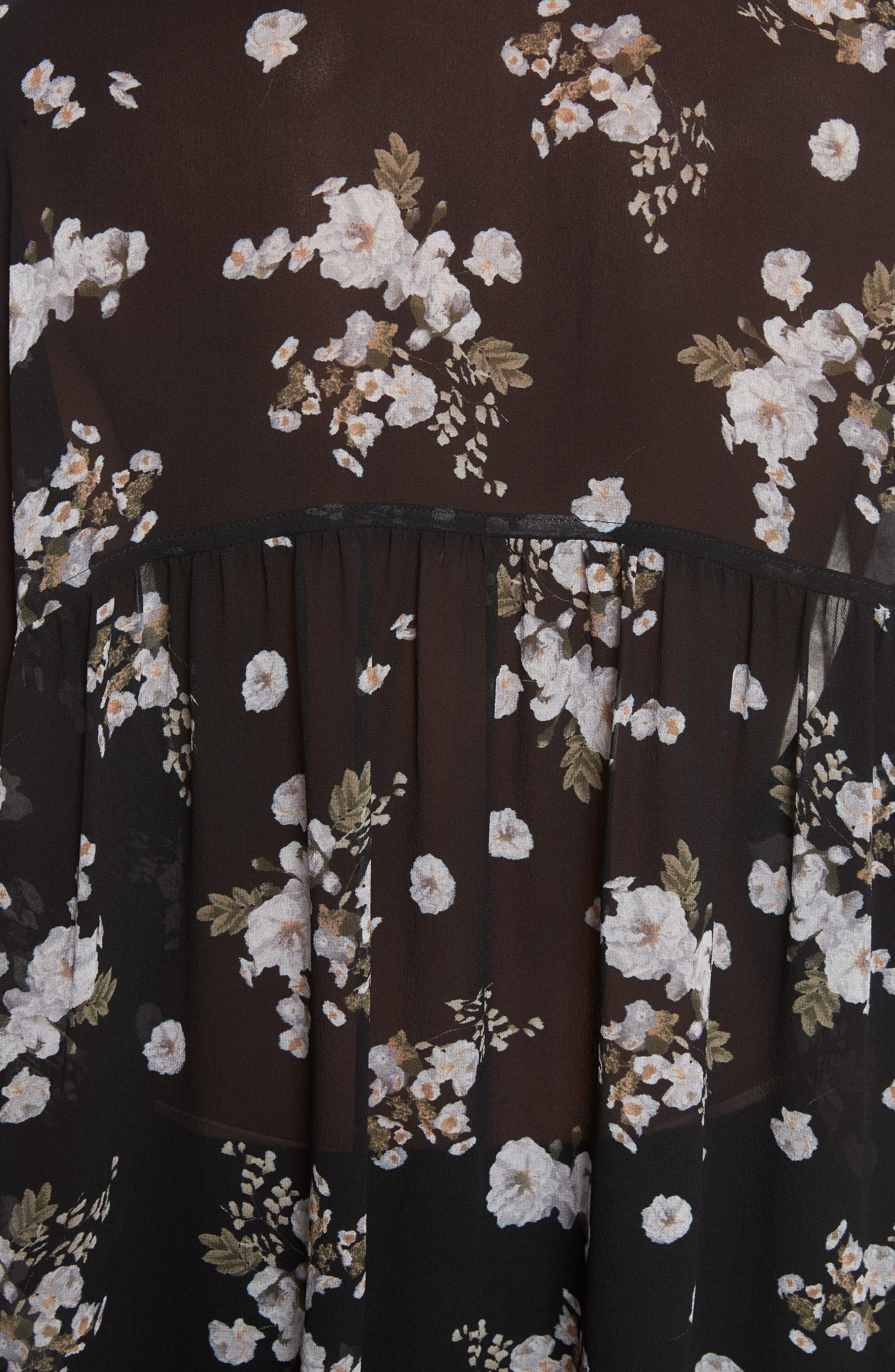 Shirred Floral Silk Blouse,                             Alternate thumbnail 5, color,                             001