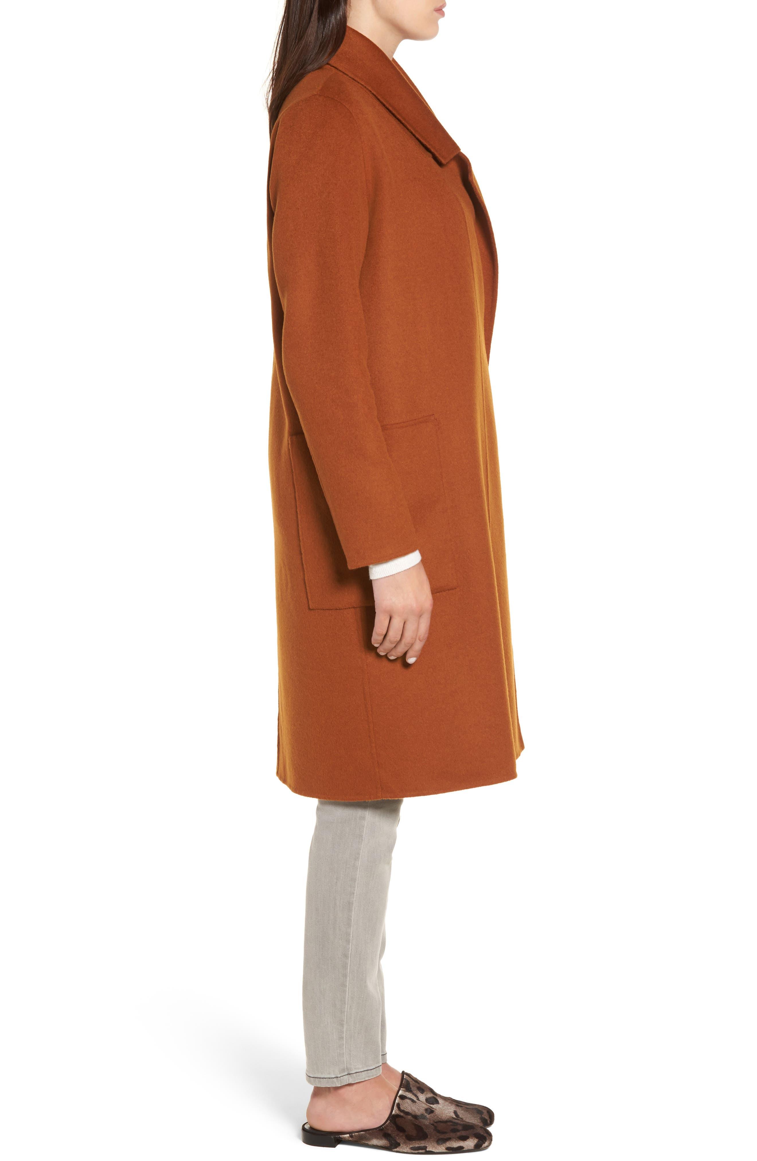 Ellie Notch Wool & Cashmere Duster Coat,                             Alternate thumbnail 3, color,                             200