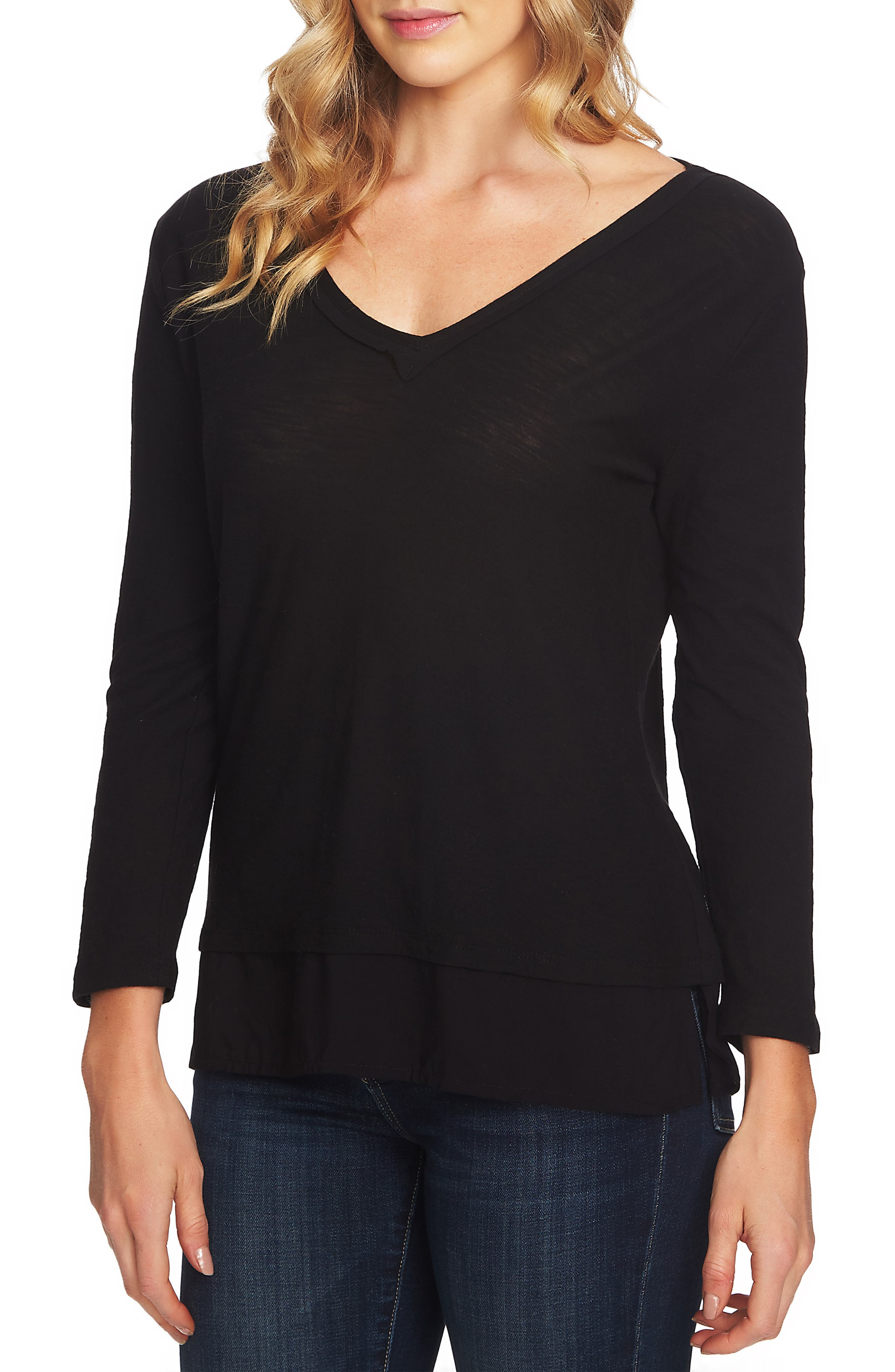 Layered Look Top,                         Main,                         color, RICH BLACK