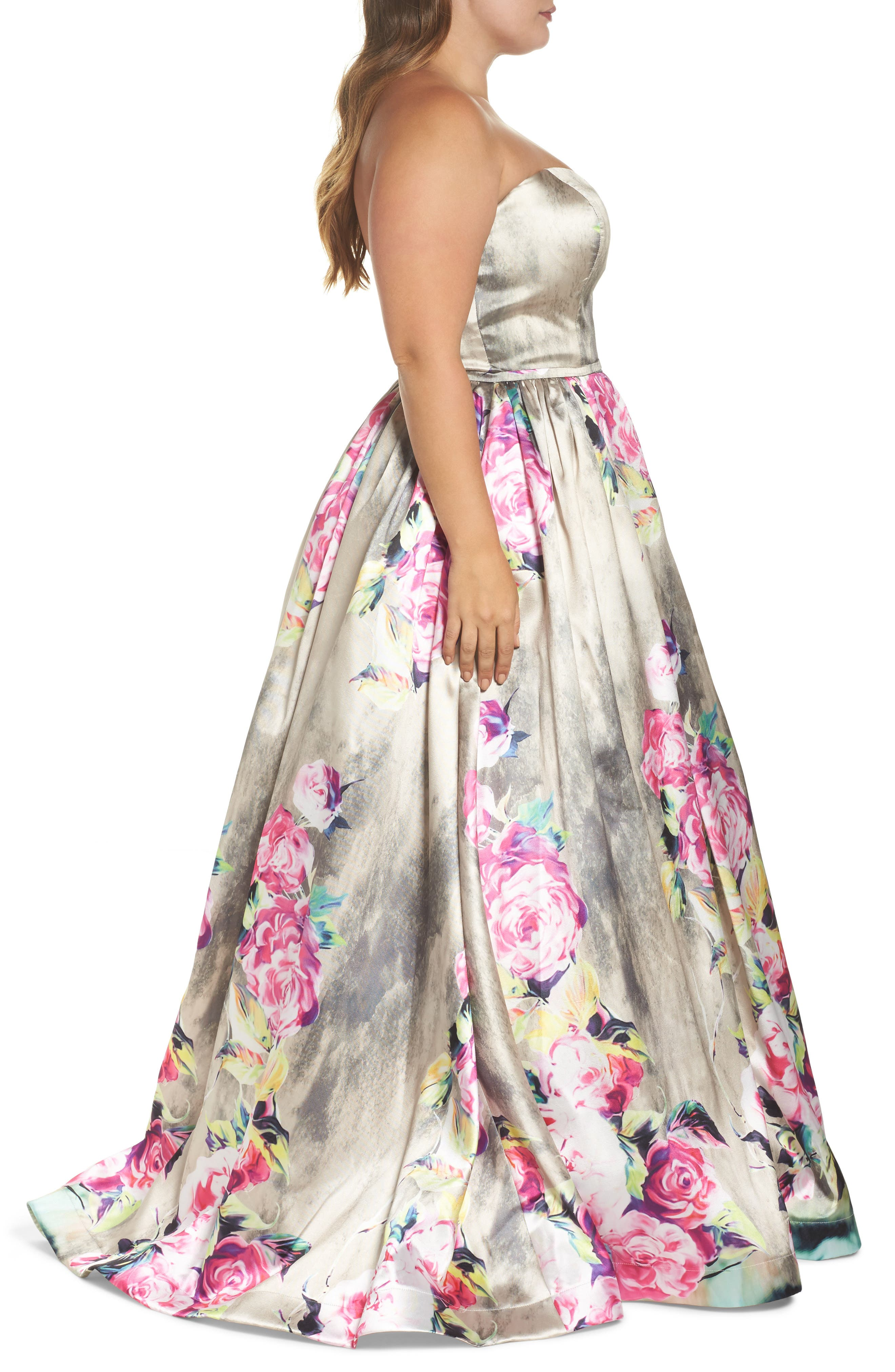 Floral Bustier Ballgown,                             Alternate thumbnail 3, color,                             FLORAL RAIN