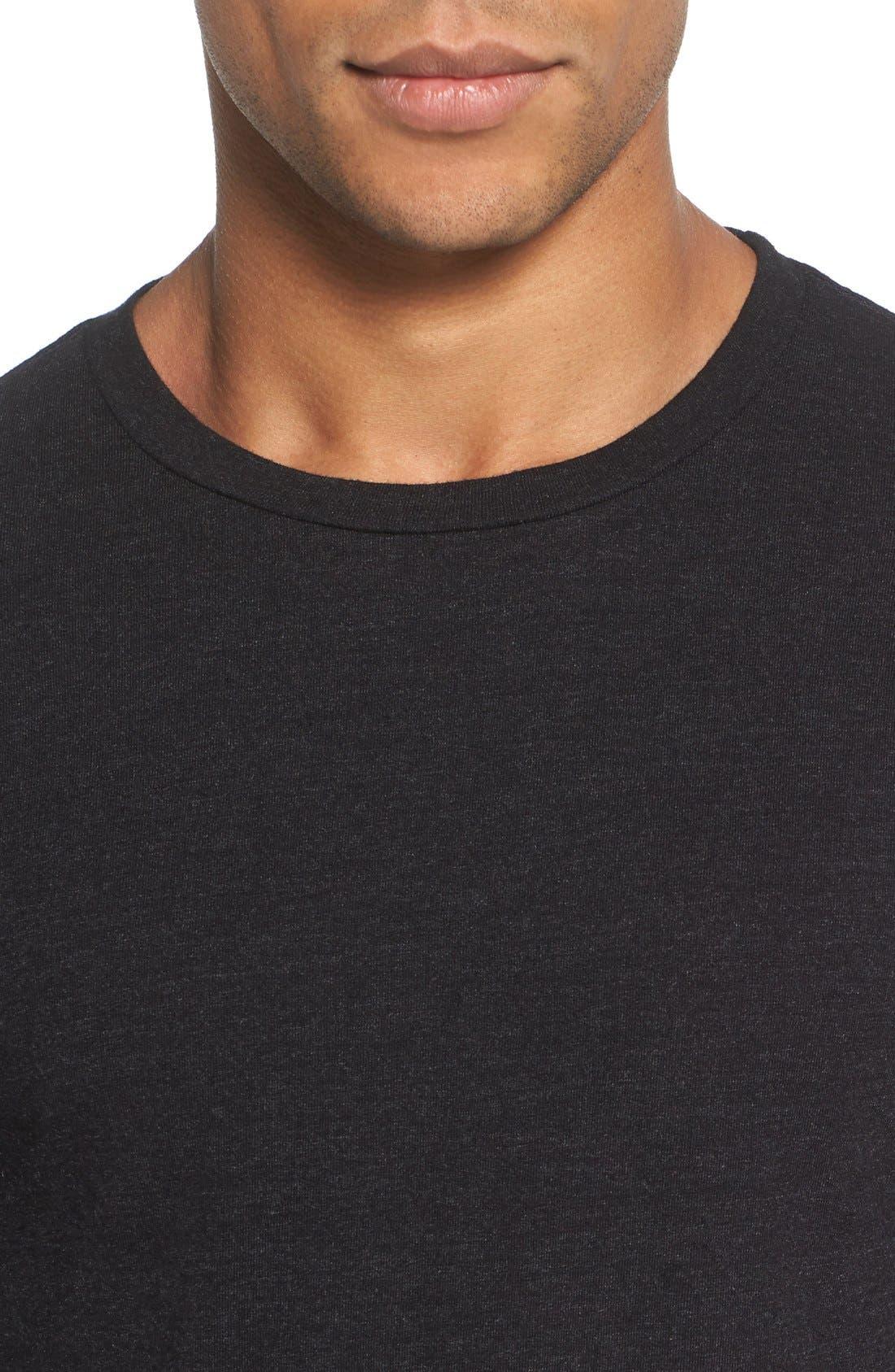 Triblend Scallop Long Sleeve Crewneck T-Shirt,                             Alternate thumbnail 2, color,                             BLACK