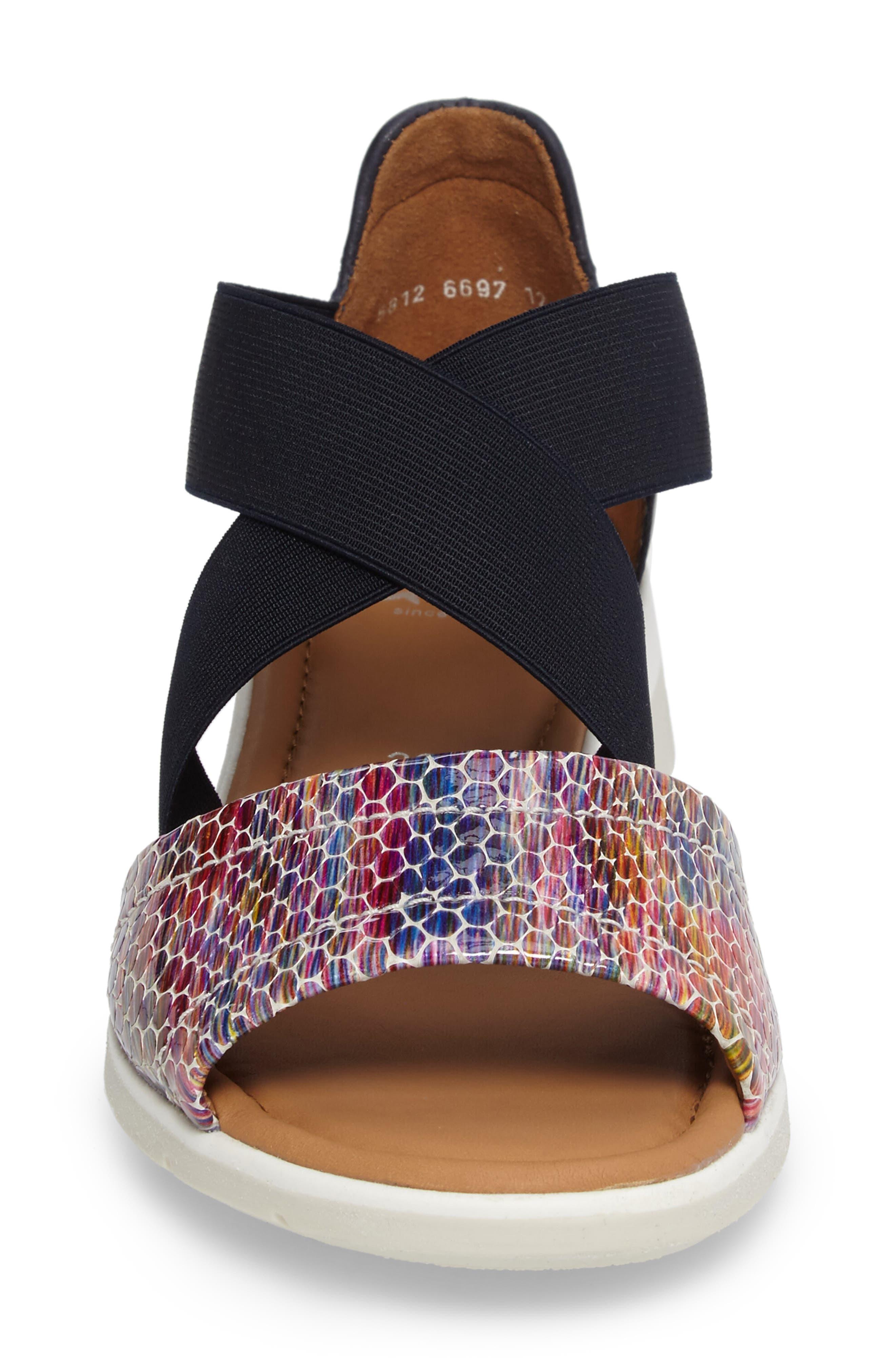 Larissa Cross Strap Wedge Sandal,                             Alternate thumbnail 4, color,                             BLACK MULTI LEATHER
