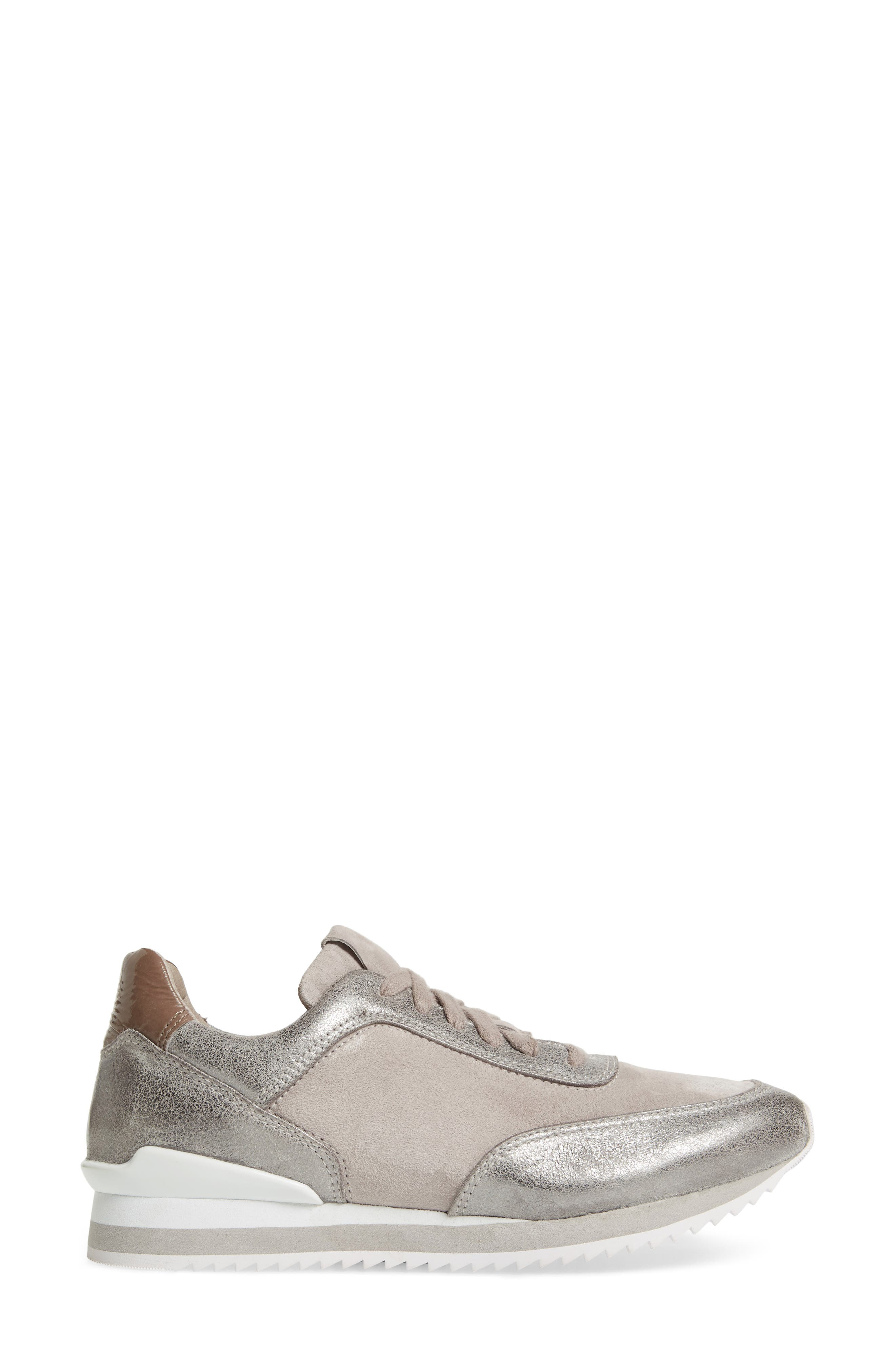 Jules Sneaker,                             Alternate thumbnail 3, color,                             PEWTER LEATHER/ SUEDE