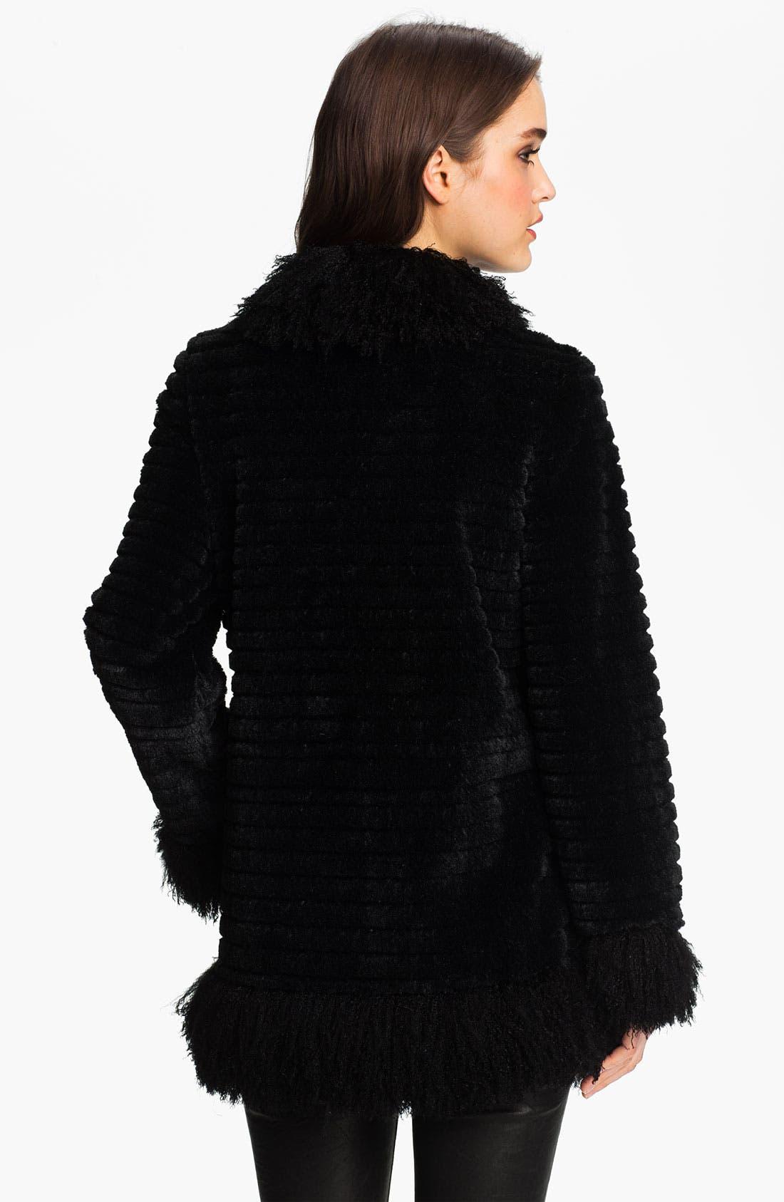DAMSELLE,                             Faux Rabbit & Lamb Fur Coat,                             Alternate thumbnail 3, color,                             001