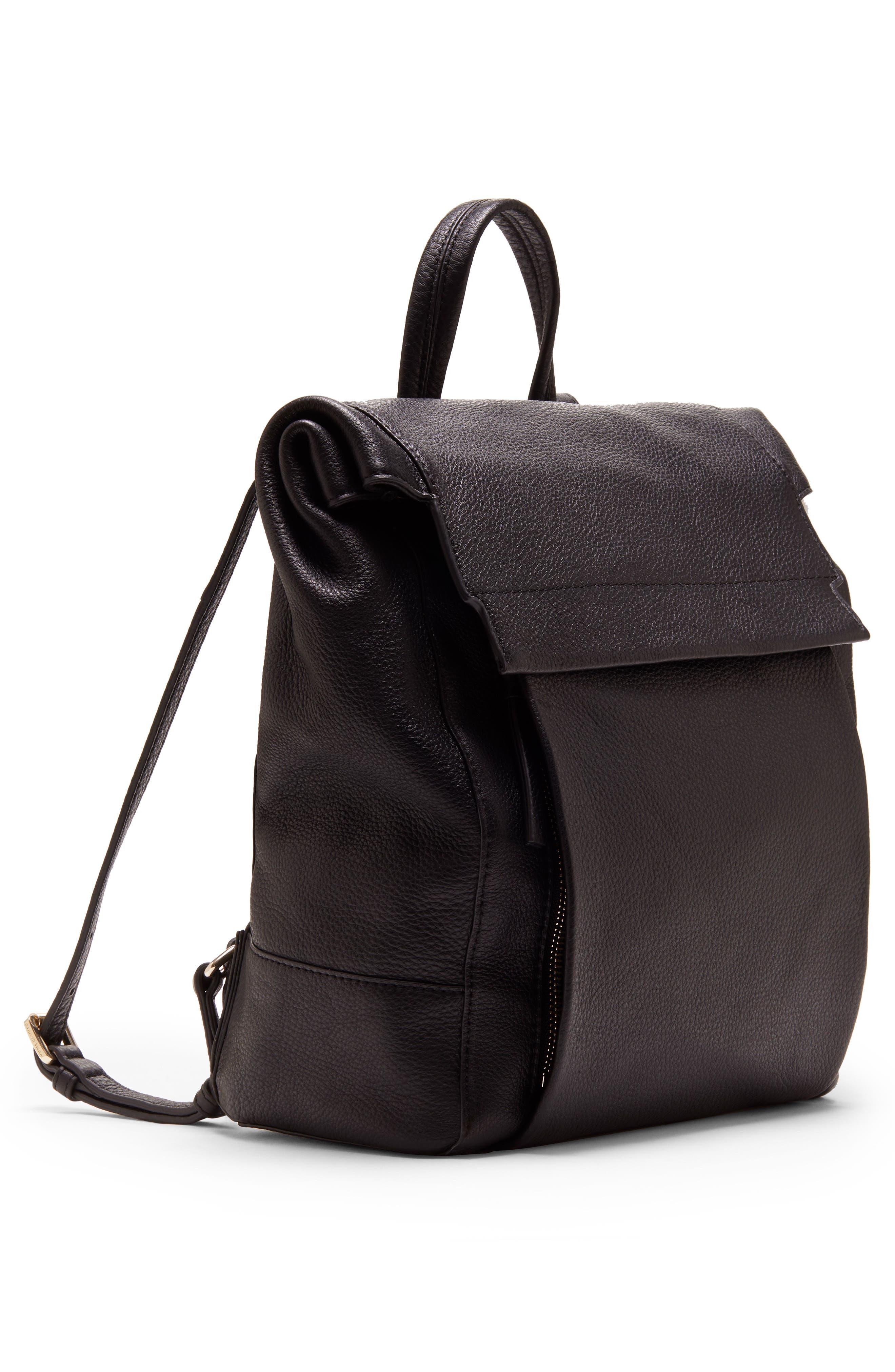 Min Pebbled Leather Backpack,                             Alternate thumbnail 4, color,                             BLACK