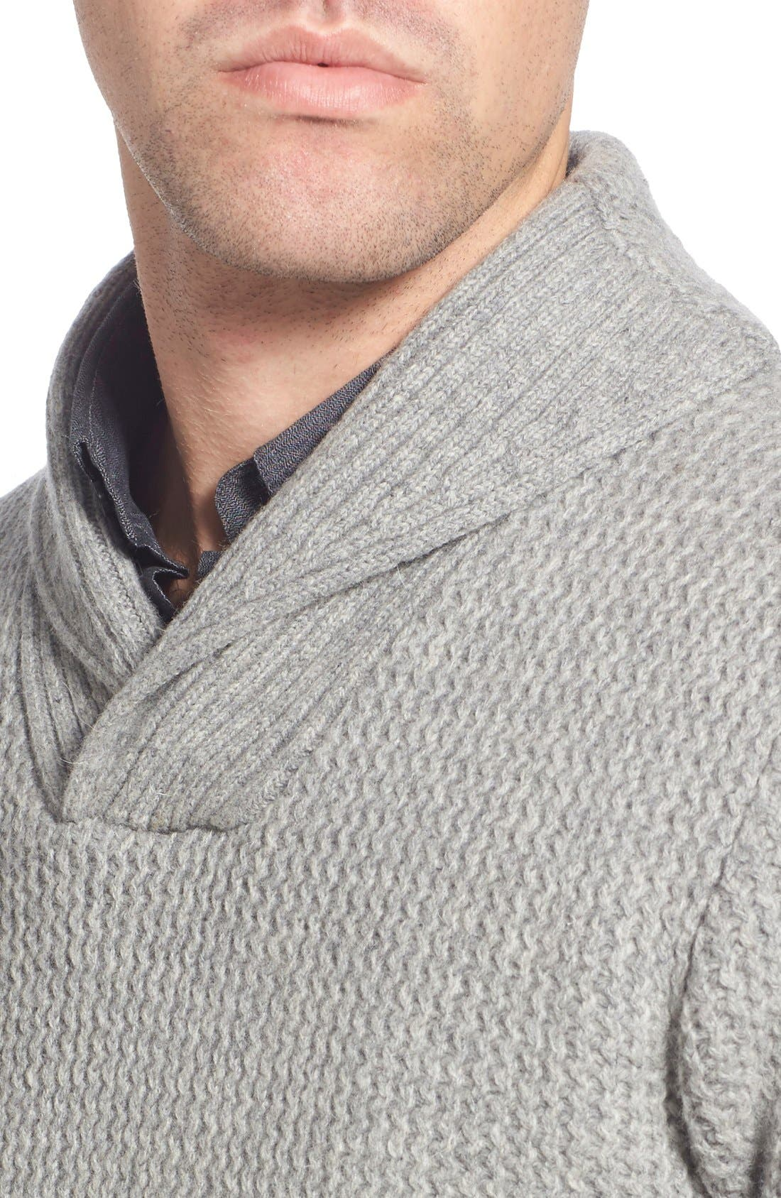 Regular Fit Shawl Collar Sweater,                             Alternate thumbnail 4, color,                             023