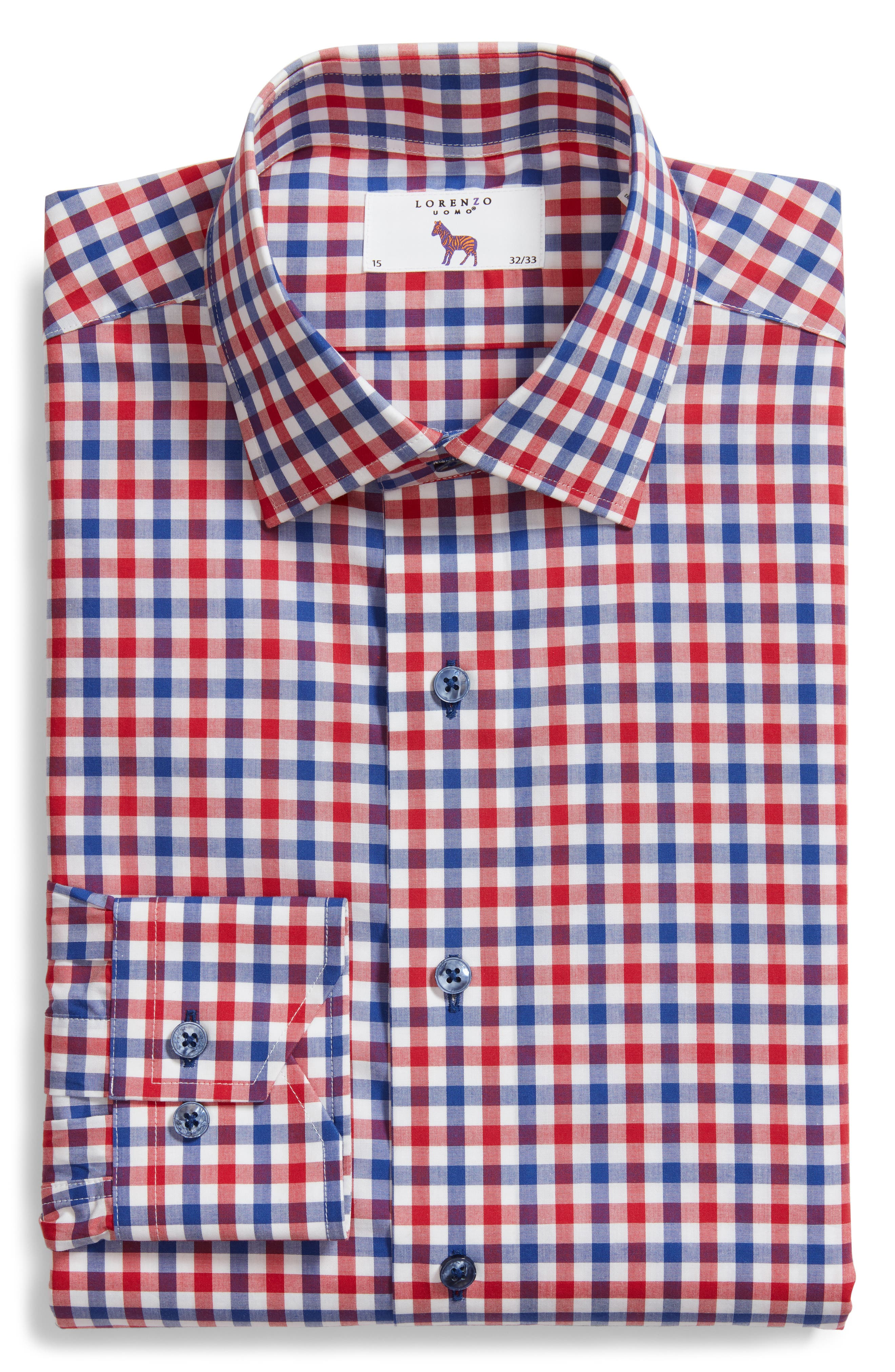 Trim Fit Check Dress Shirt,                             Alternate thumbnail 5, color,                             NAVY/ RED