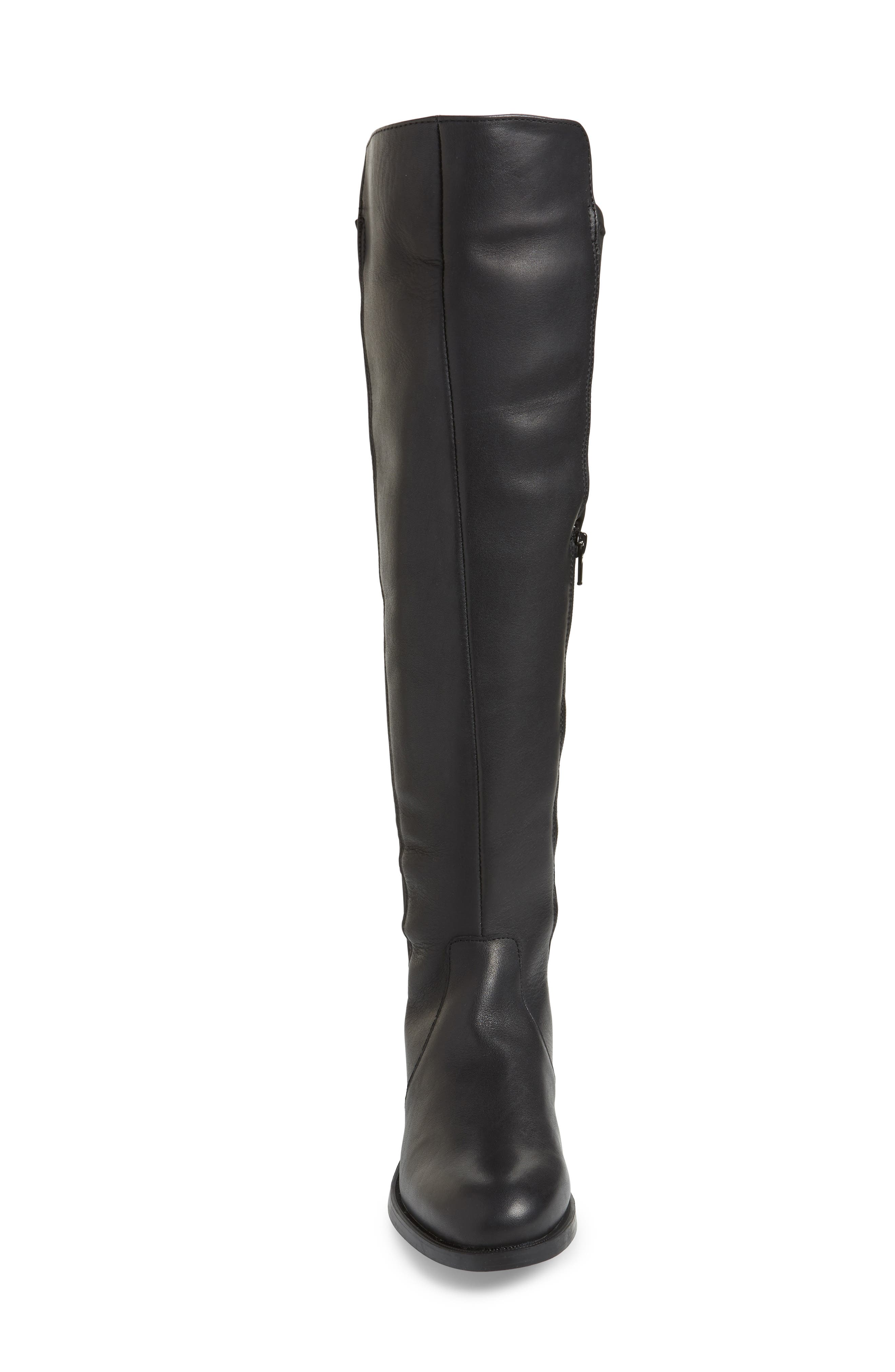 BOS. & CO.,                             Bunt Waterproof Over the Knee Boot,                             Alternate thumbnail 4, color,                             BLACK MELBOURNE/ LYCRA