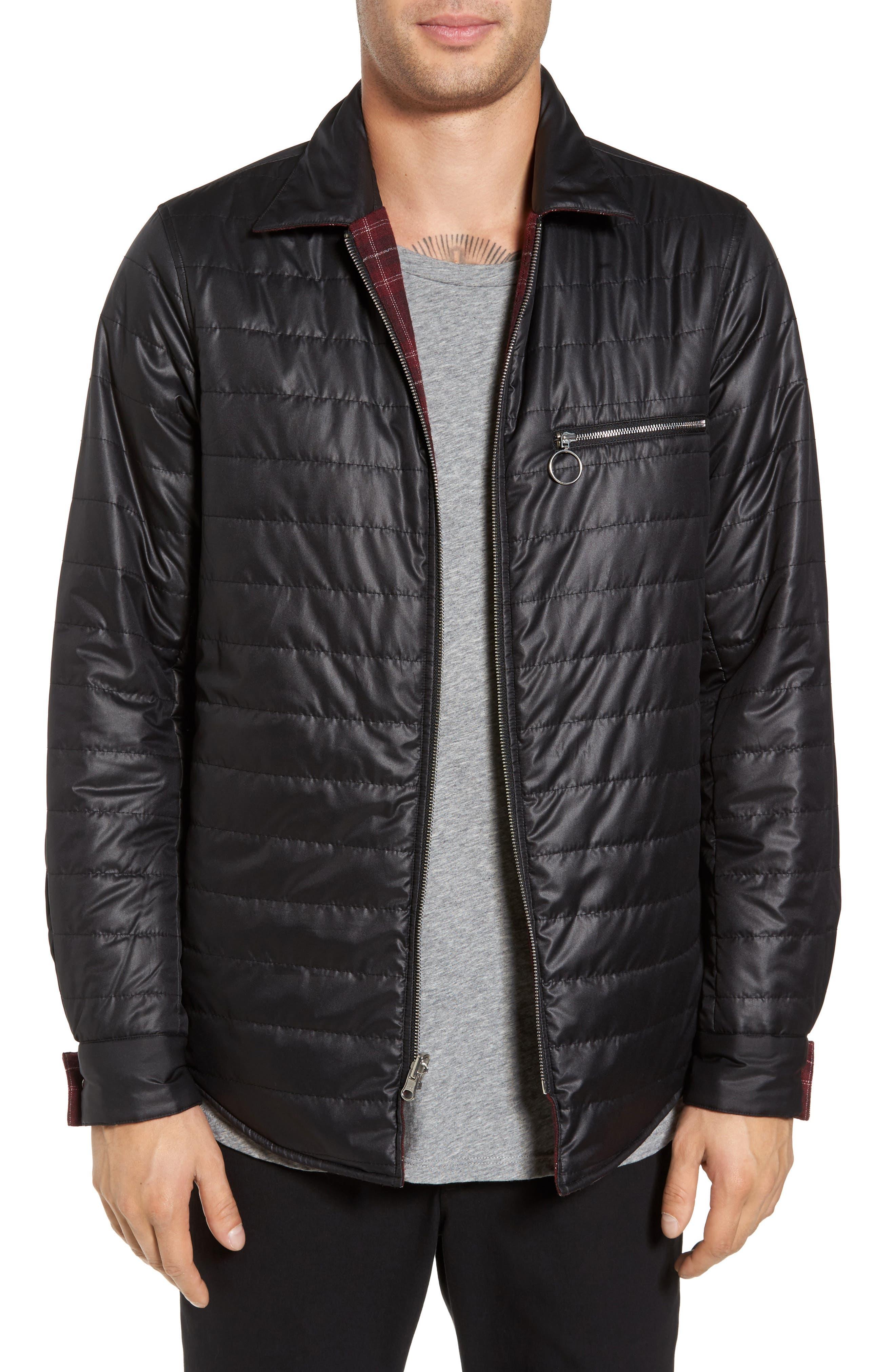 Reversible Zip Front Shirt Jacket,                             Alternate thumbnail 4, color,