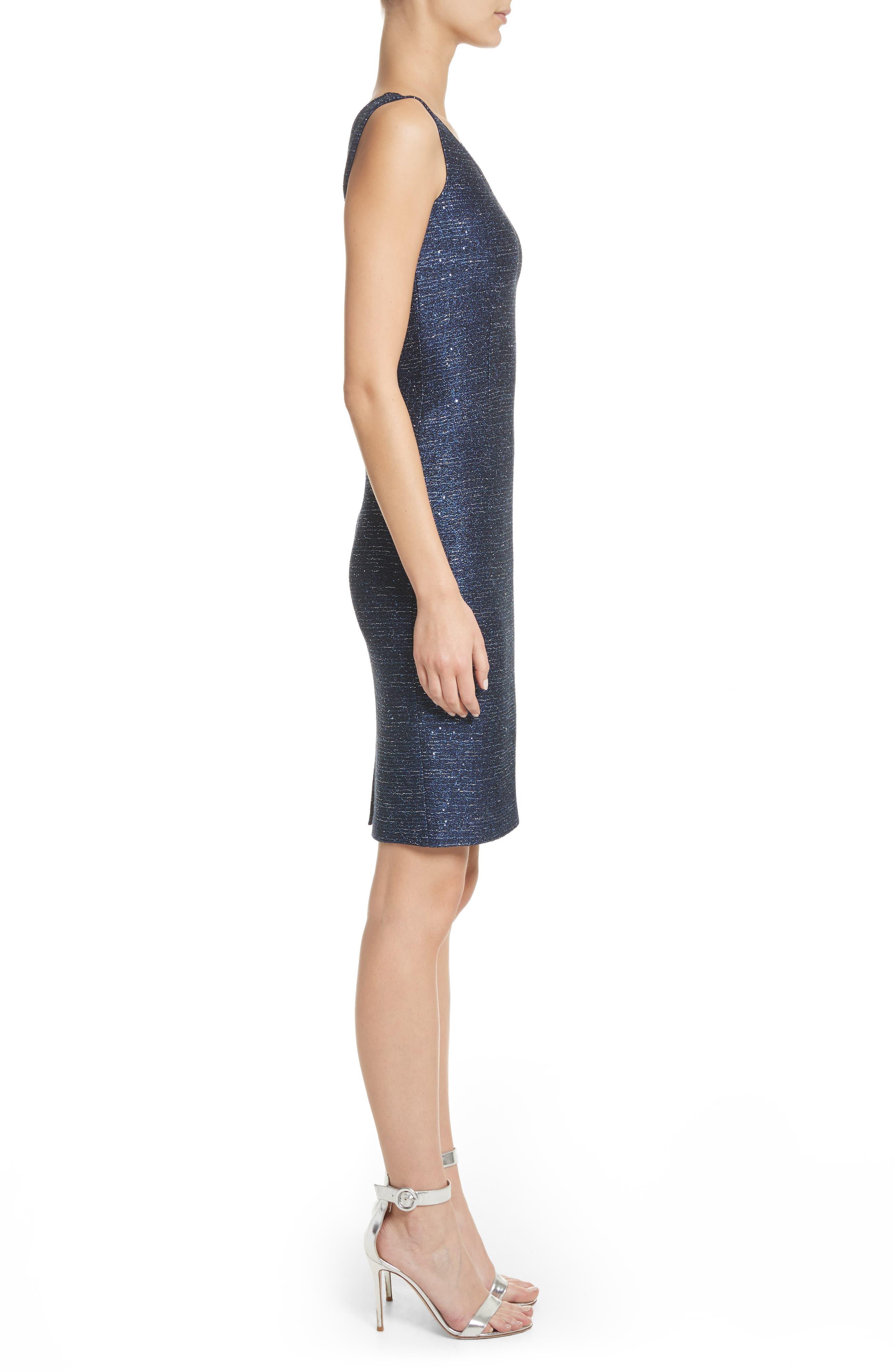 Sparkle Knit Sheath Dress,                             Alternate thumbnail 3, color,                             410