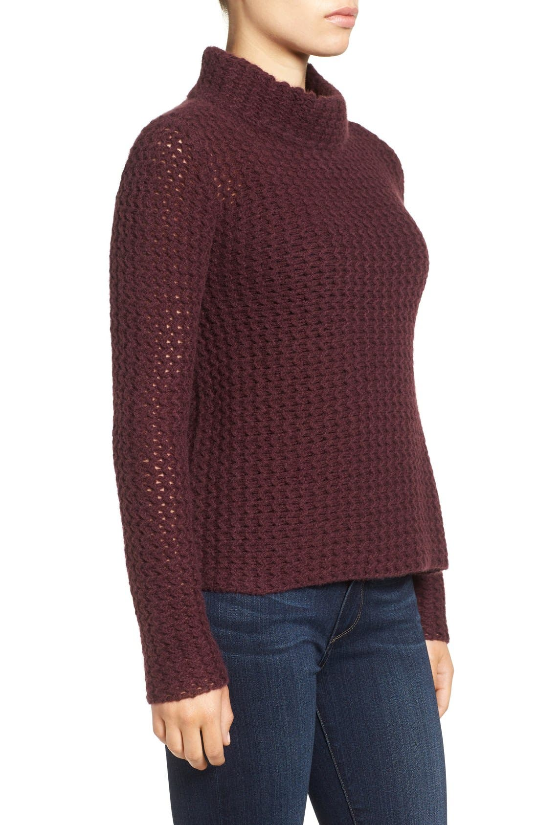 Stitch Detail Cashmere Mock Neck Sweater,                             Alternate thumbnail 6, color,