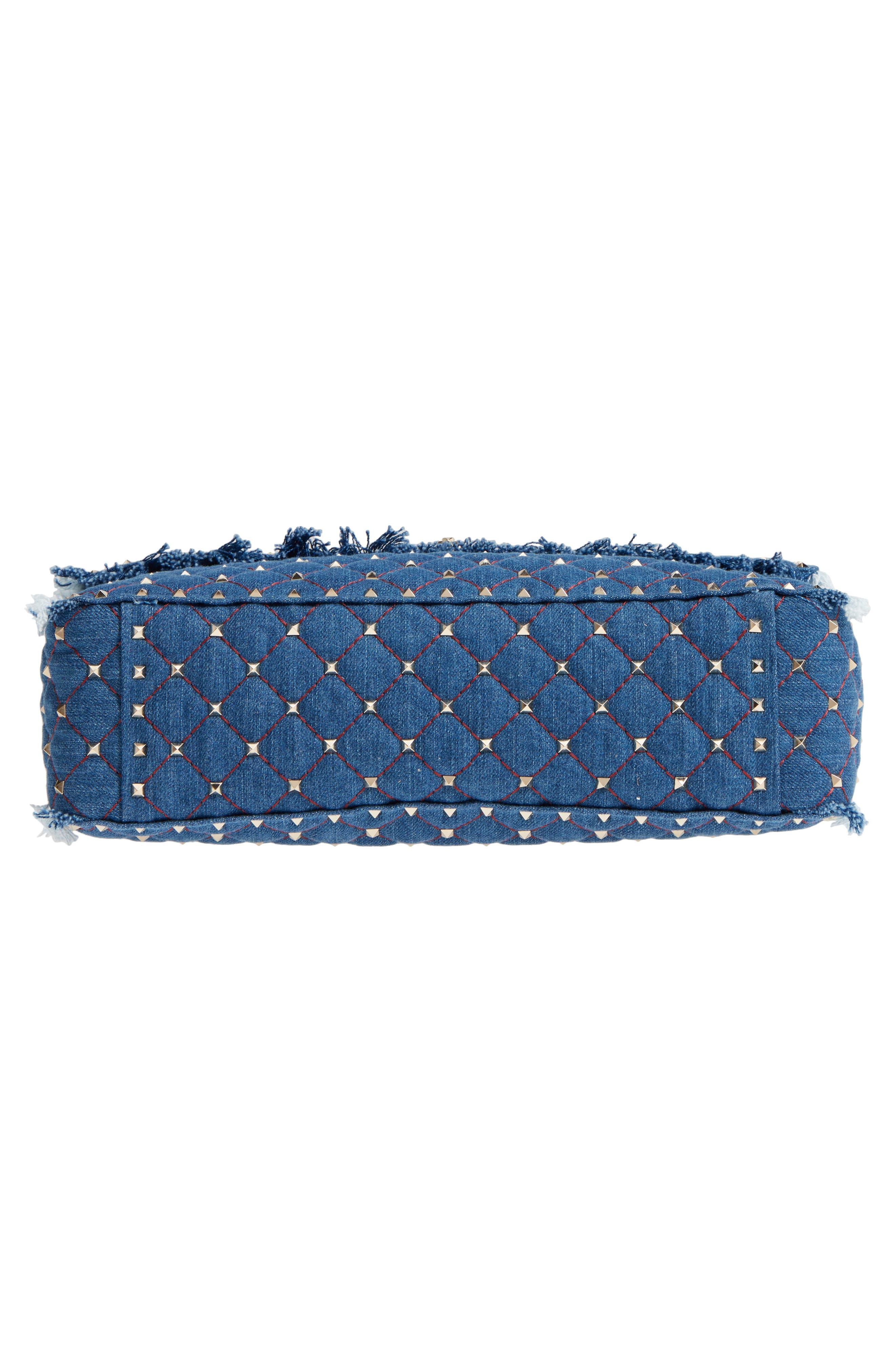 Maxi Rockstud Spike Denim Shoulder Bag,                             Alternate thumbnail 6, color,                             408
