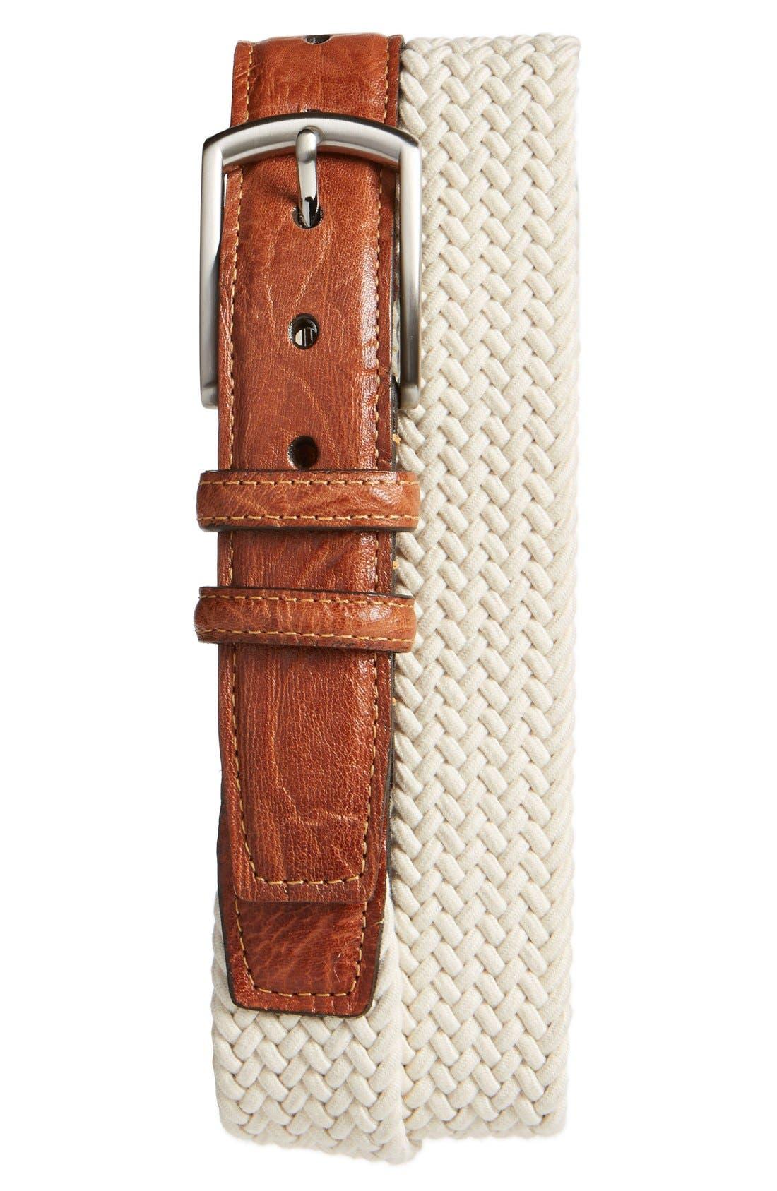 Woven Cotton Belt,                         Main,                         color, CREAM BEIGE