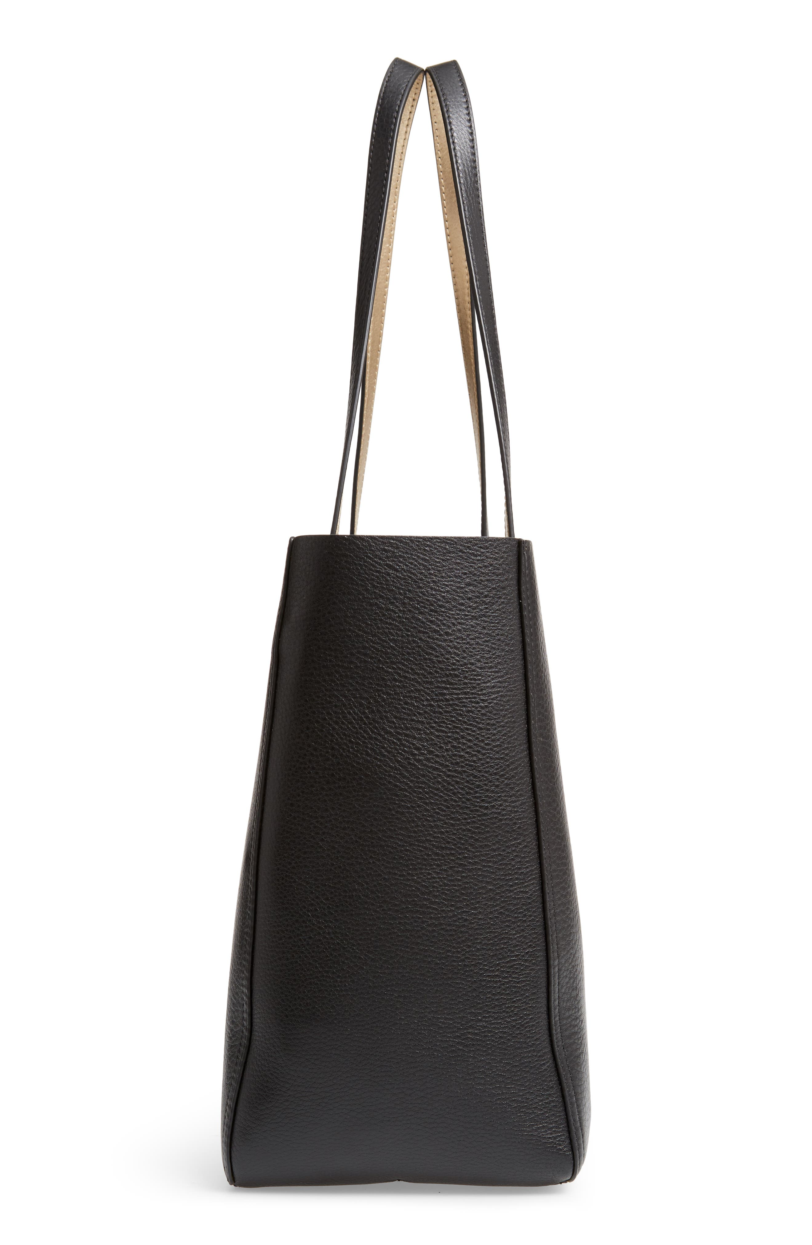 Perry Leather Tote,                             Alternate thumbnail 5, color,                             001