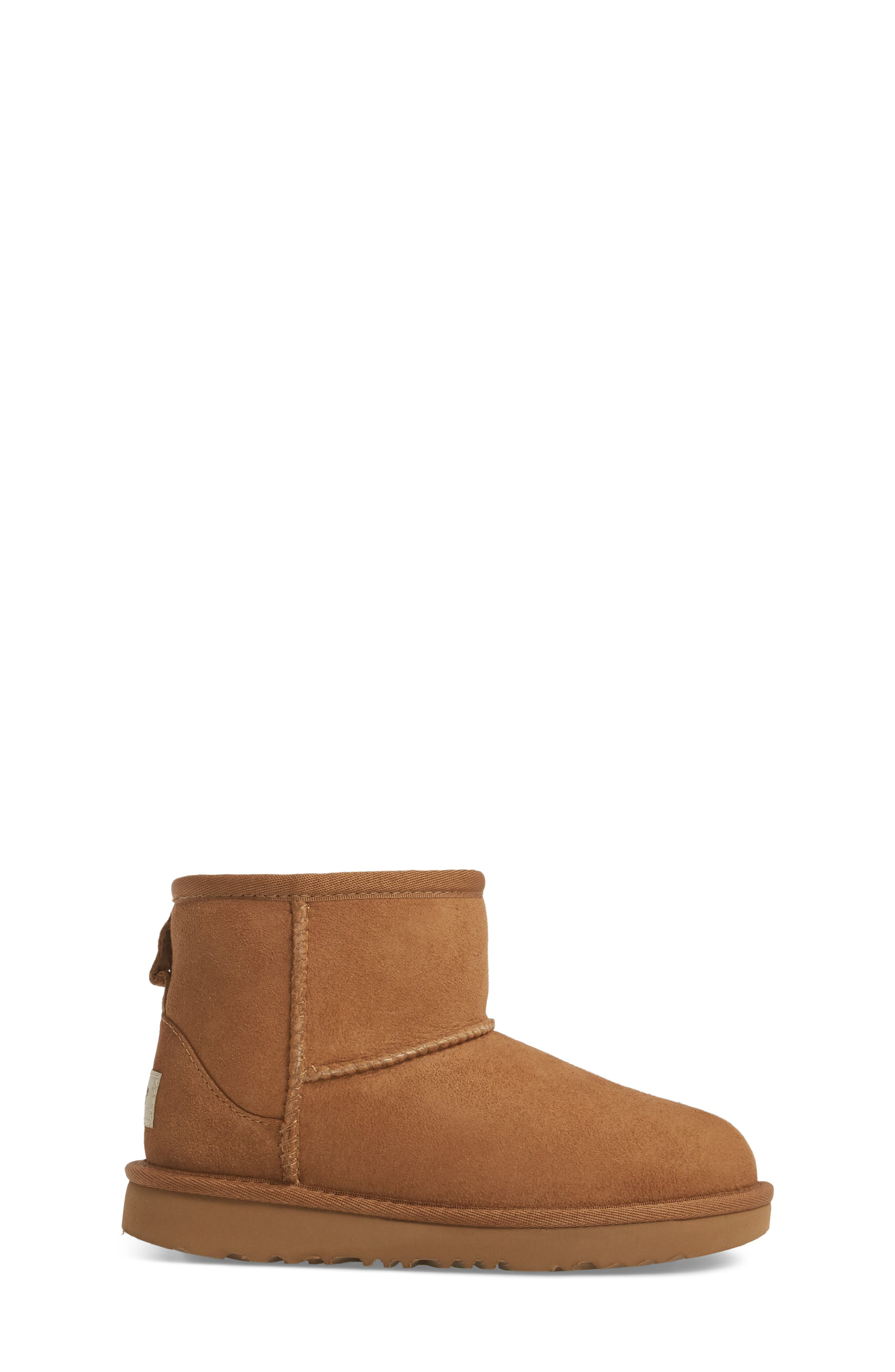 Classic Mini II Water-Resistant Genuine Shearling Boot,                             Alternate thumbnail 3, color,                             CHESTNUT