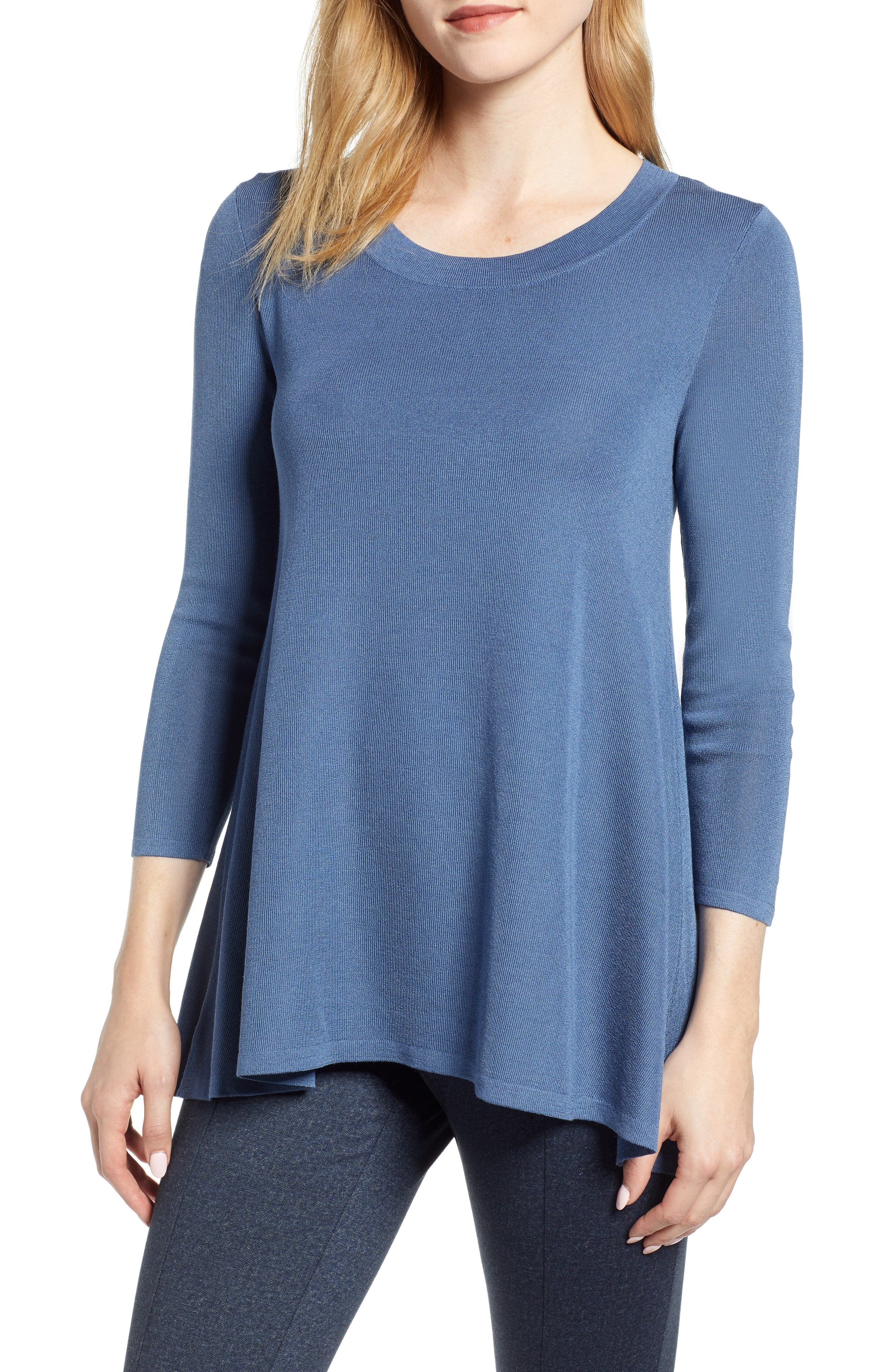 ANNE KLEIN Scoop Neck Knit Top in Versailles