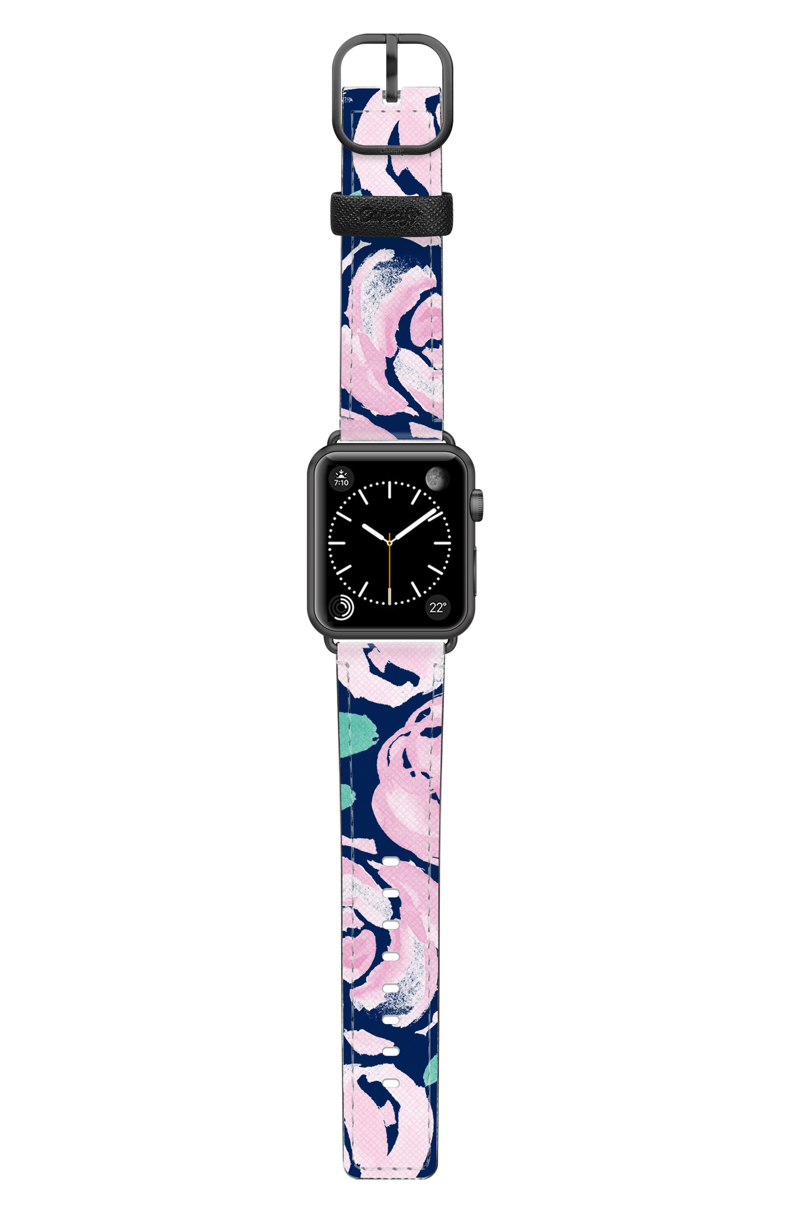 Pink Peonies Saffiano Faux Leather Apple Watch Strap,                             Alternate thumbnail 3, color,                             PINK/ BLACK