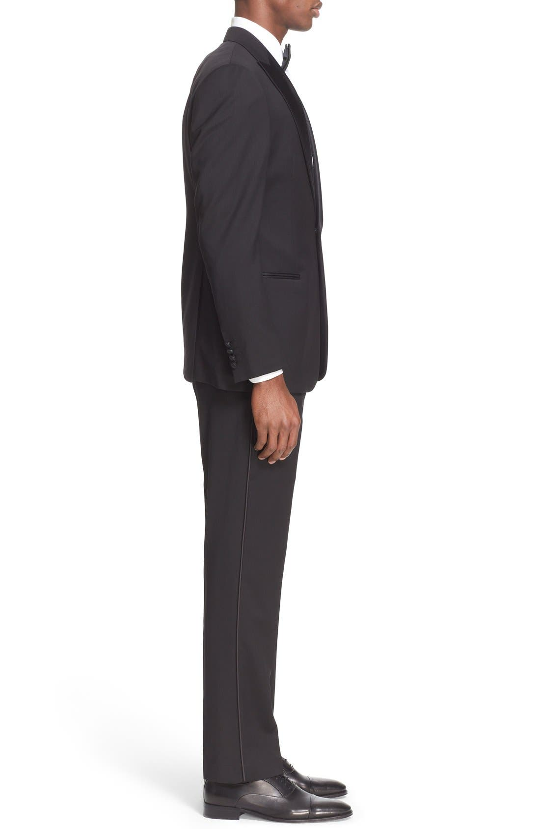 Trim Fit Wool Tuxedo,                             Alternate thumbnail 8, color,                             001