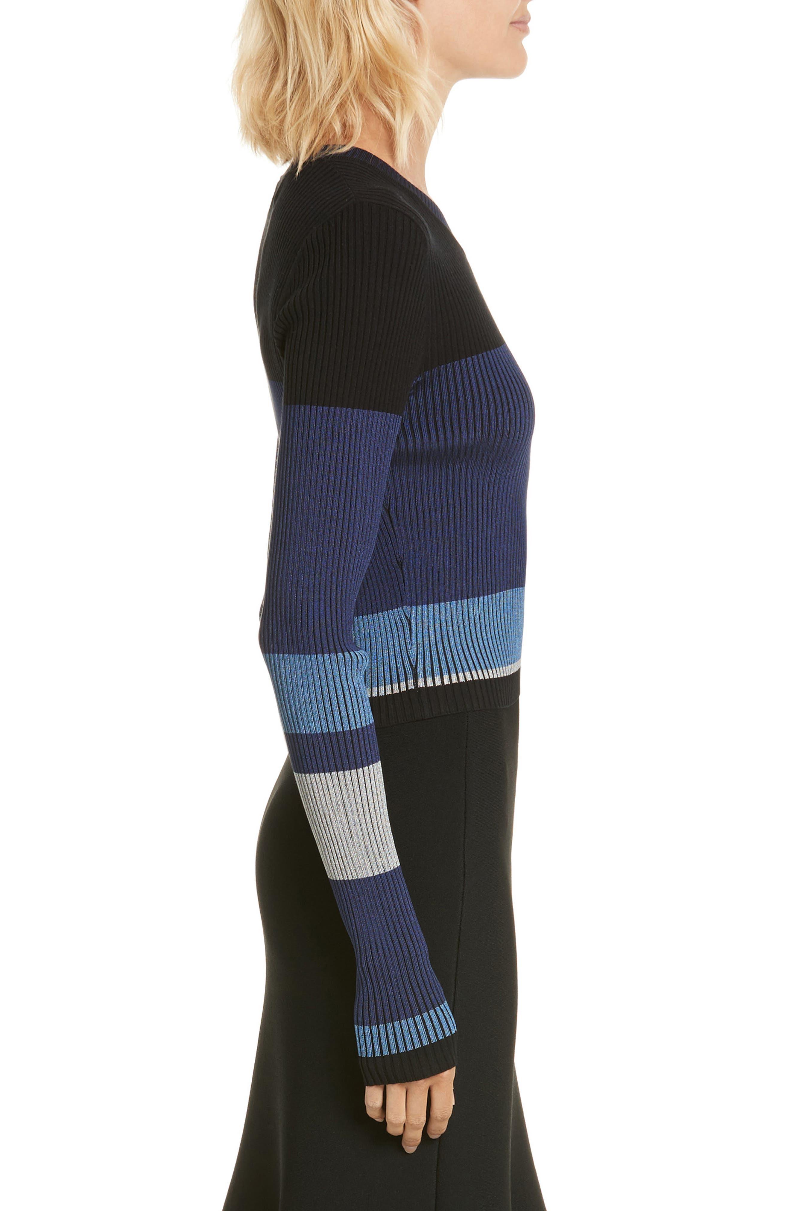 Diane von Furstenberg Cropped Plaited Pullover,                             Alternate thumbnail 6, color,