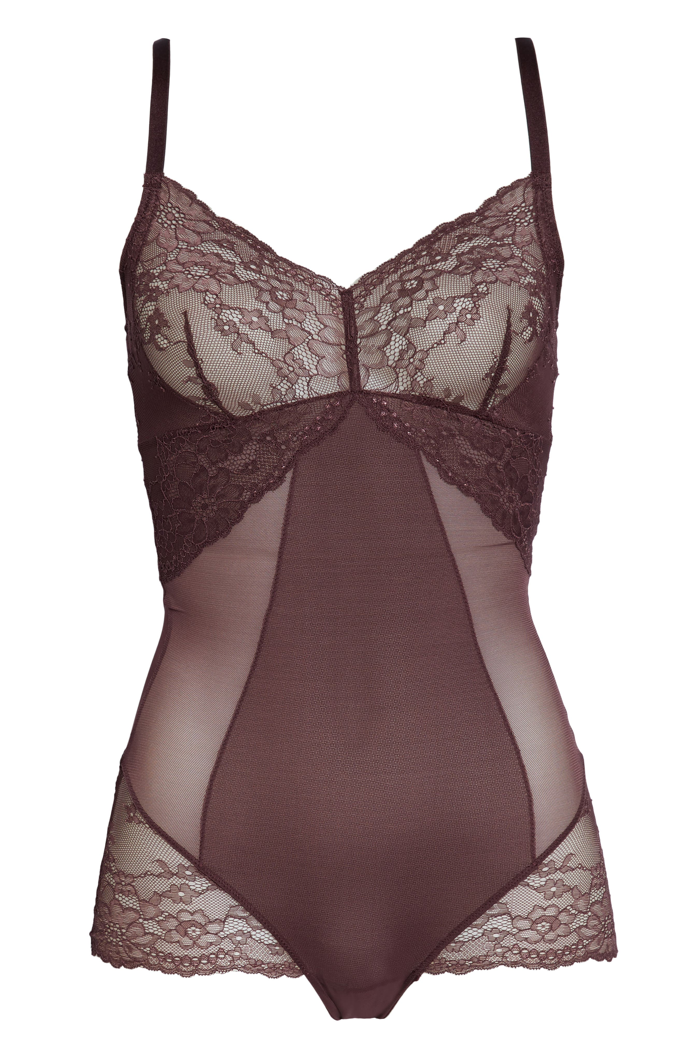 Spotlight On Lace Bodysuit,                             Alternate thumbnail 7, color,                             GARNET