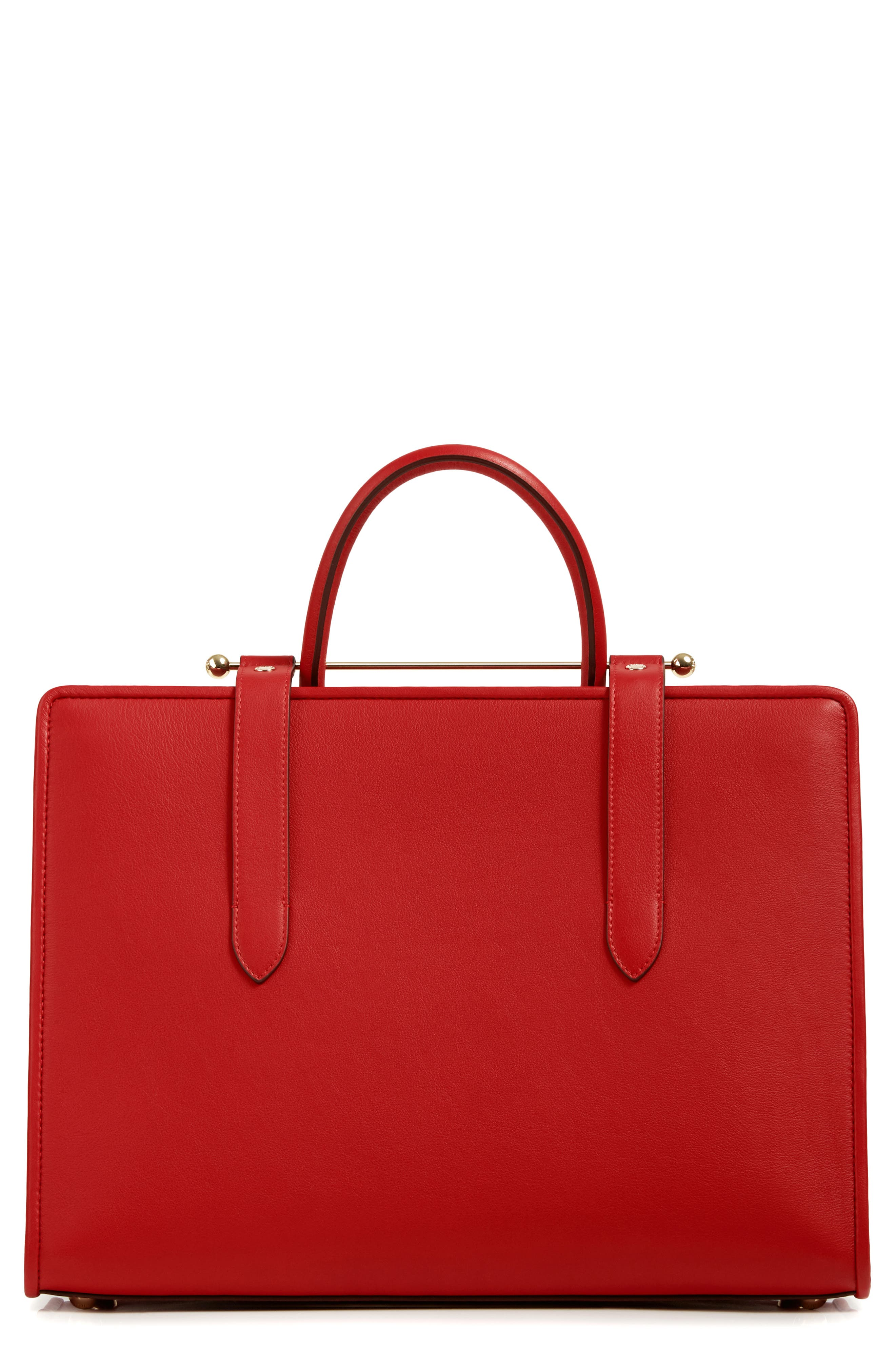 Large Leather Tote,                             Alternate thumbnail 2, color,                             RUBY
