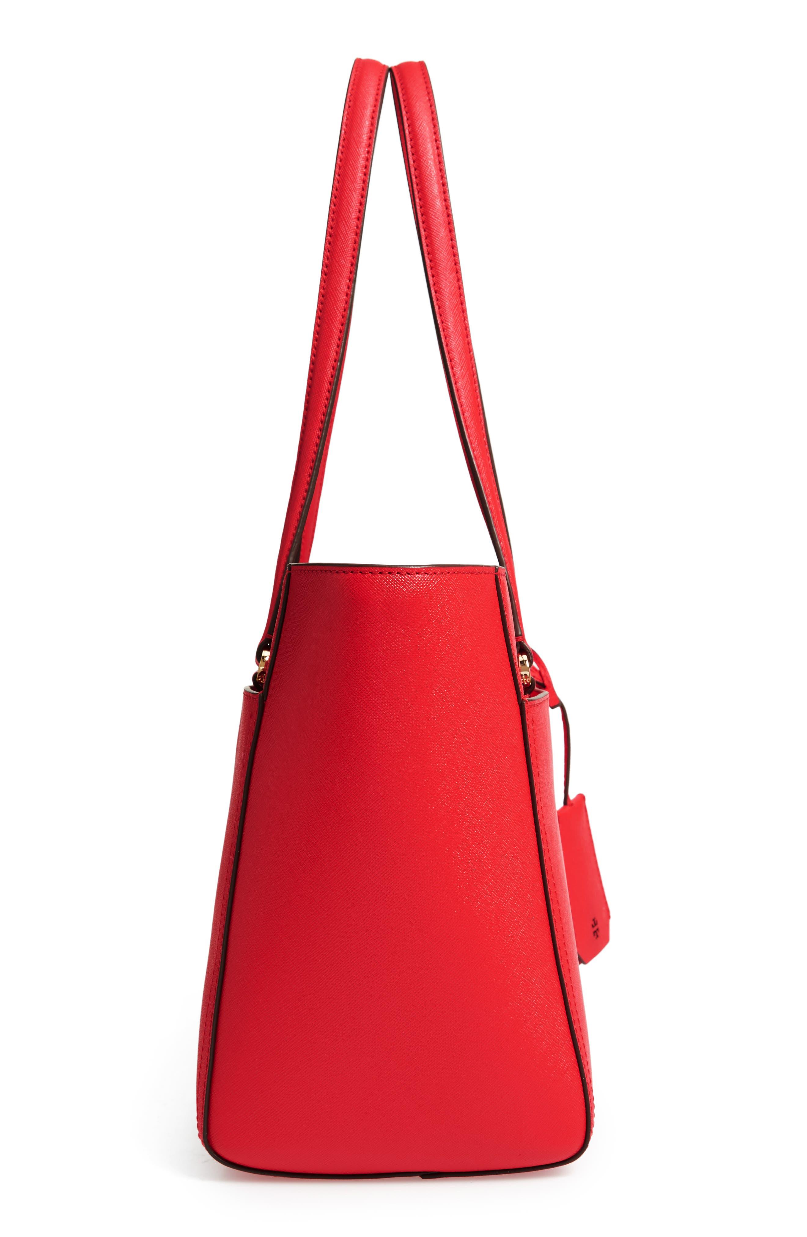 Small Robinson Leather Tote,                             Alternate thumbnail 5, color,                             BRILLIANT RED