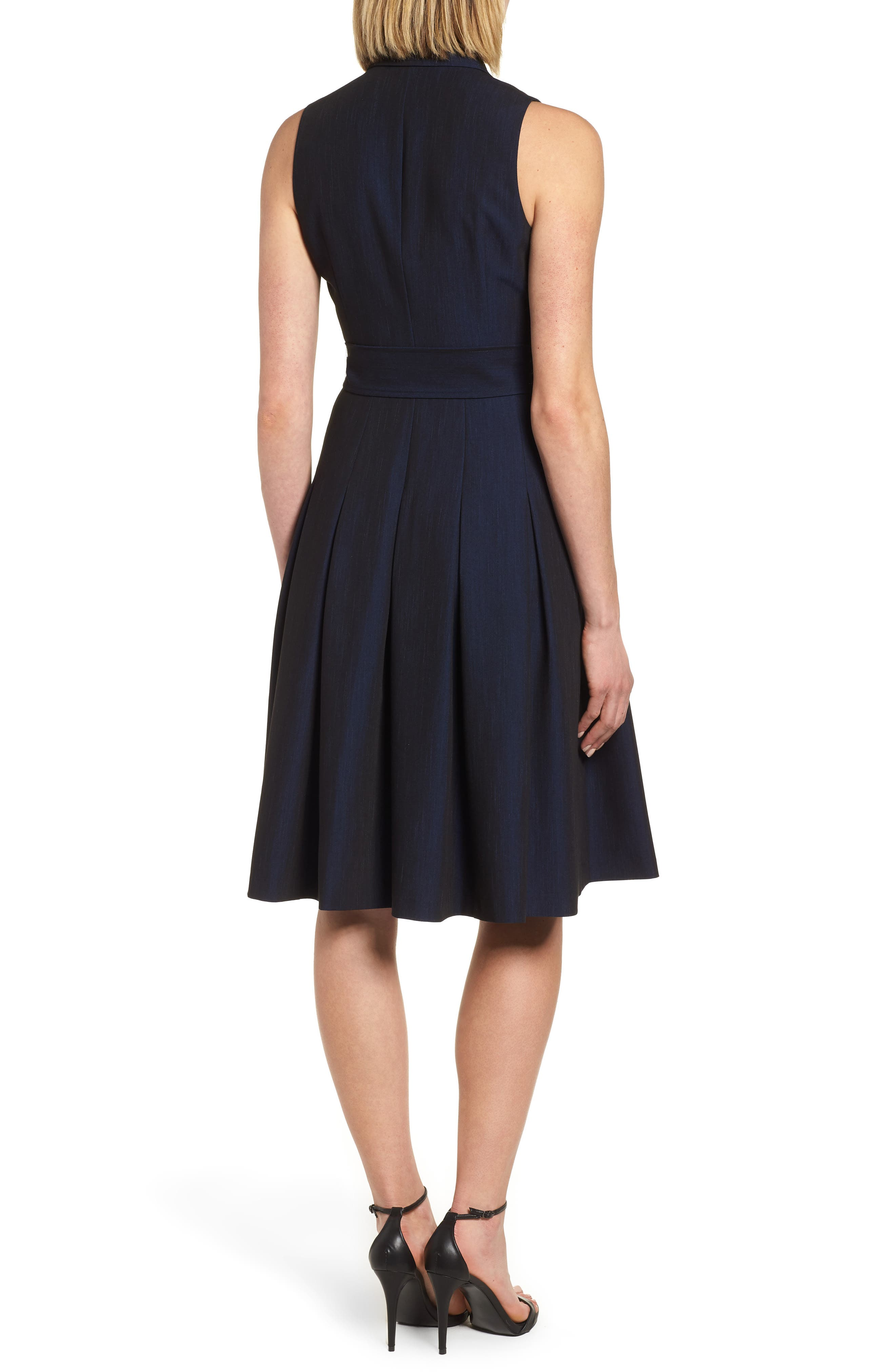 Notch Collar Stretch Denim Dress,                             Alternate thumbnail 4, color,