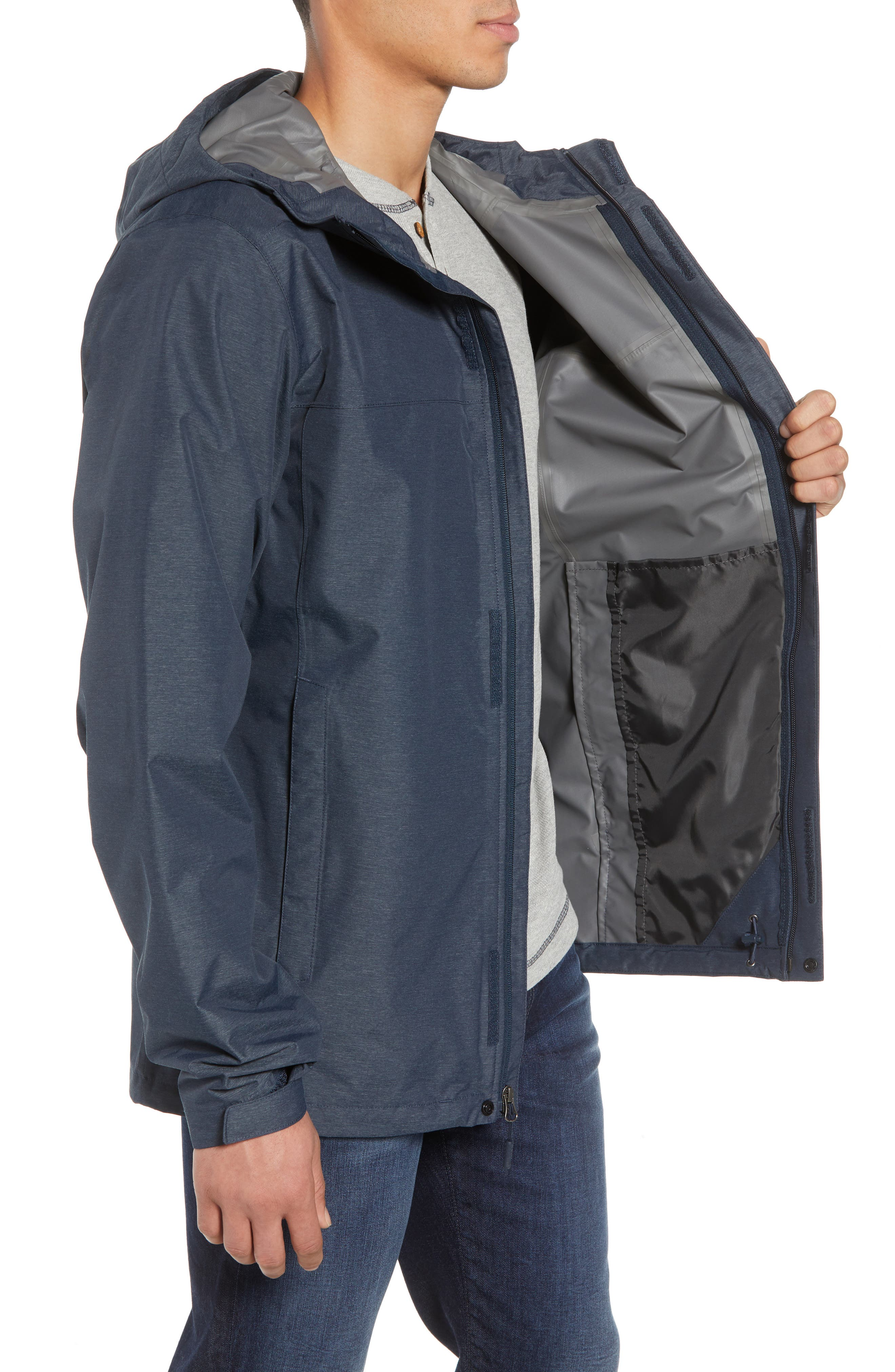 Venture 2 Waterproof Jacket,                             Alternate thumbnail 3, color,                             URBAN NAVY HEATHER