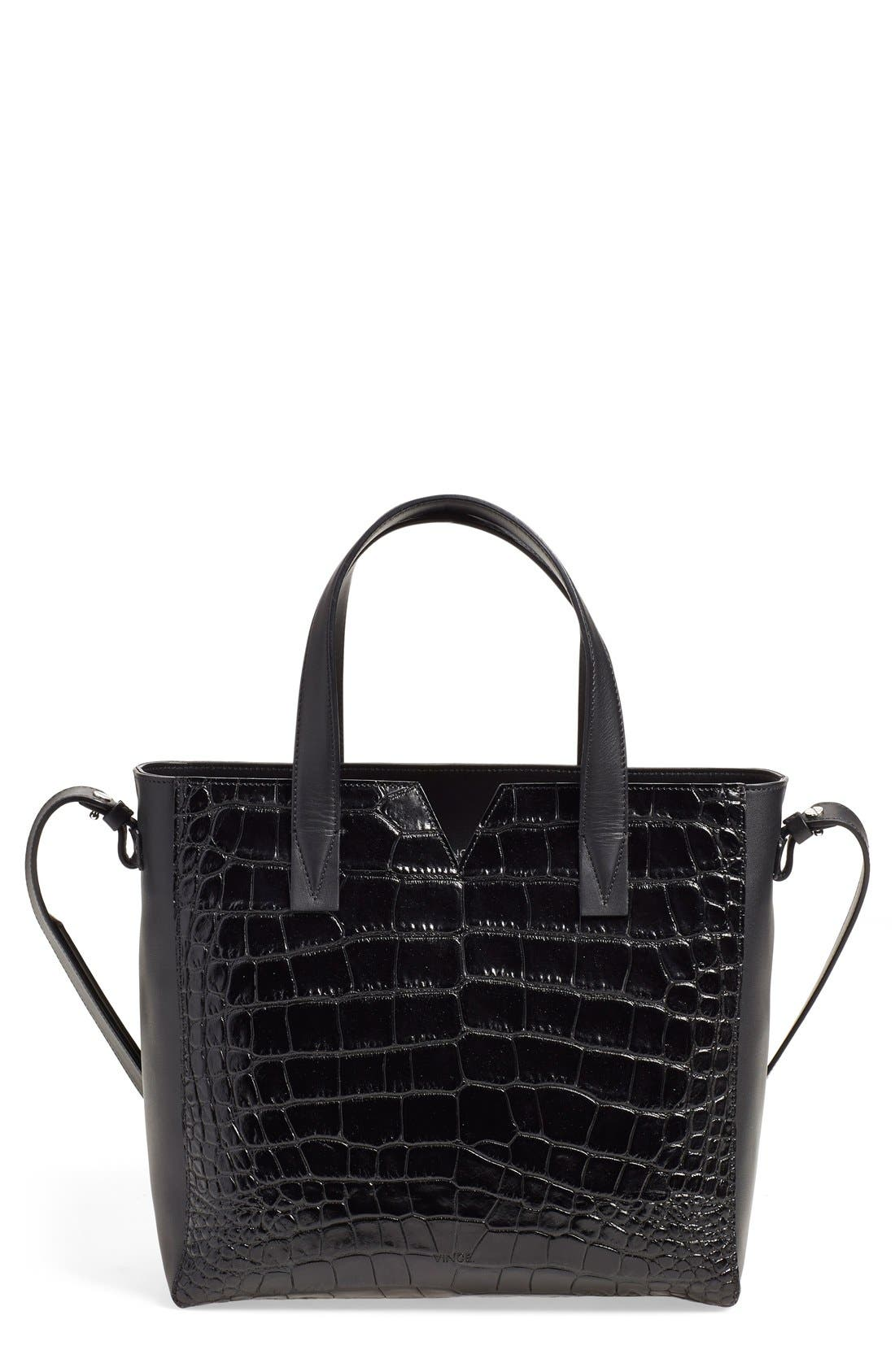 'Baby Signature V' CrocEmbossed Tote, Main, color, 001