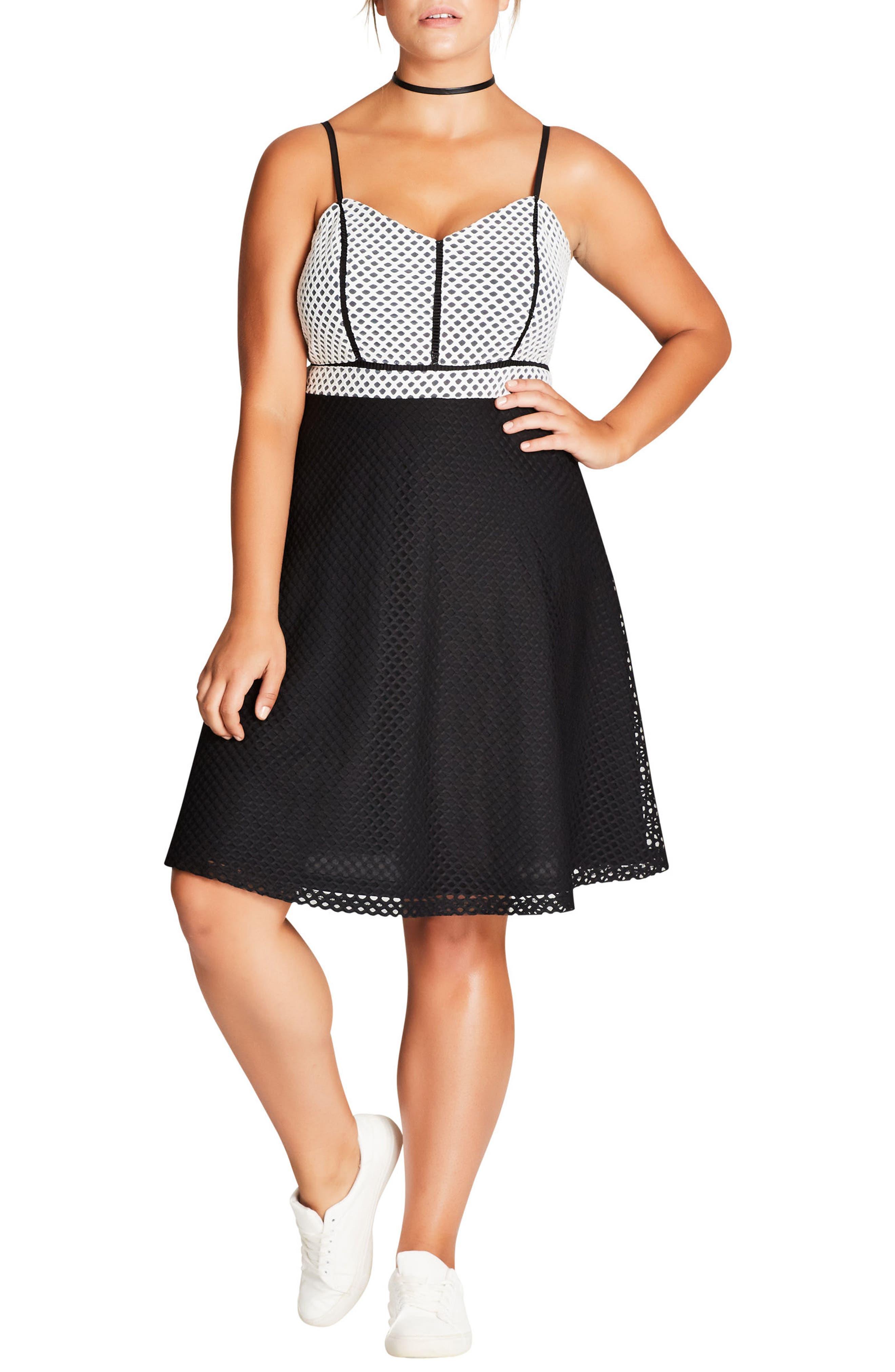 Geo Mesh Fit & Flare Dress,                             Alternate thumbnail 3, color,                             001