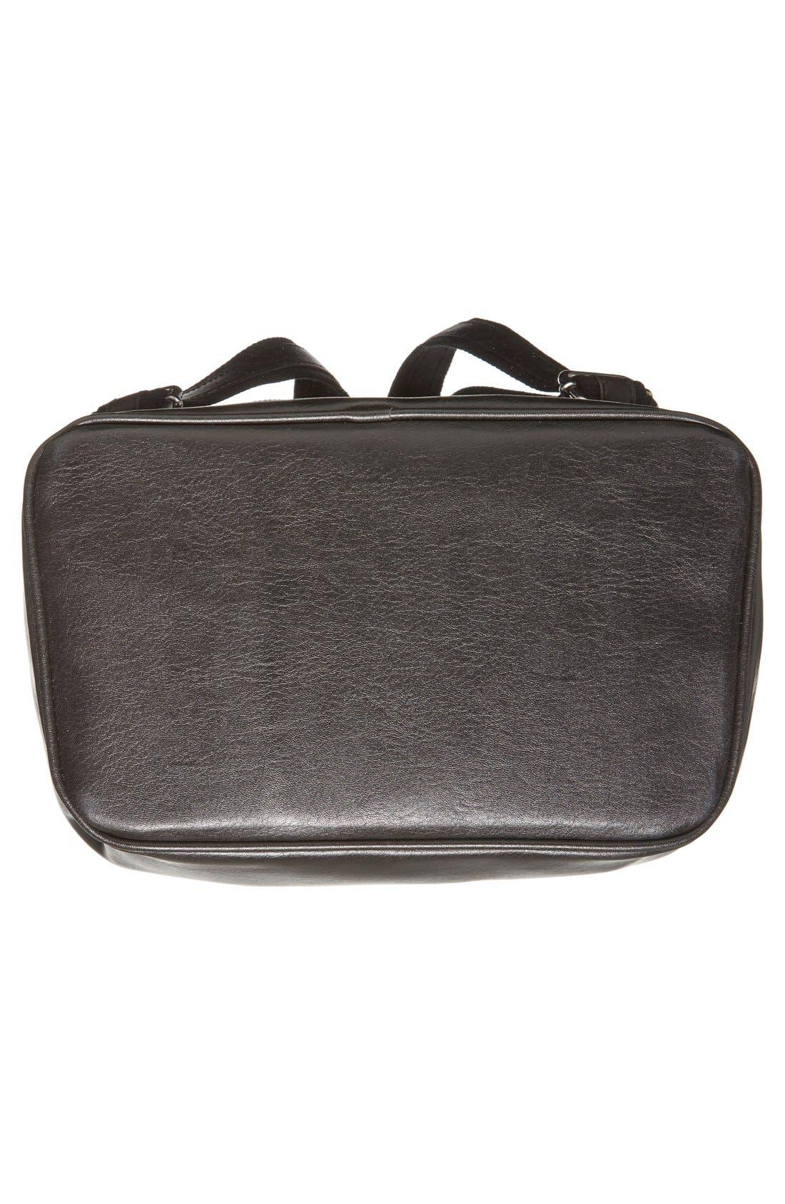 'Fabi' Faux Leather Laptop Backpack,                             Alternate thumbnail 6, color,                             BLACK