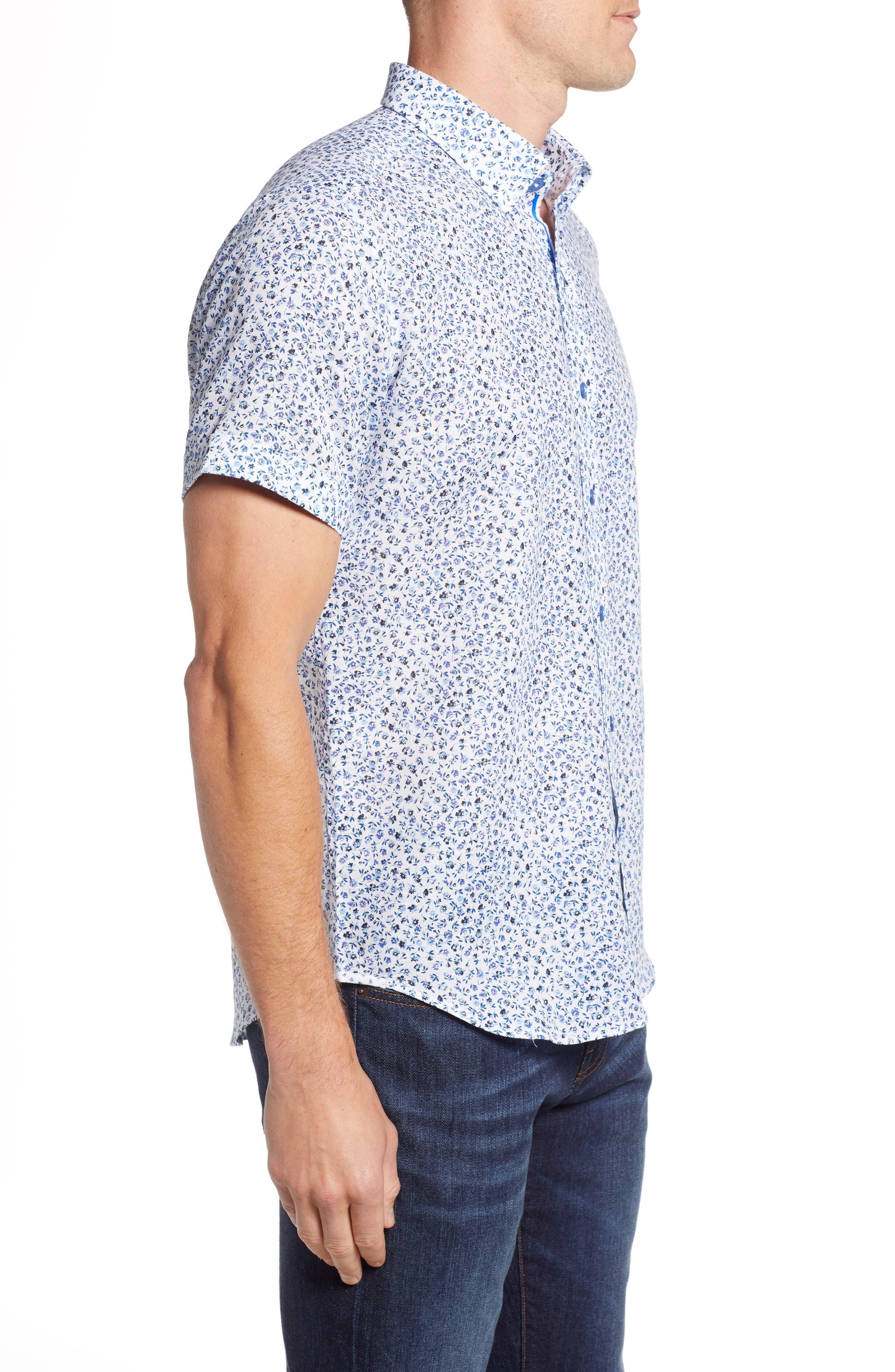 Patrick Floral Linen Blend Sport Shirt,                             Alternate thumbnail 4, color,                             400