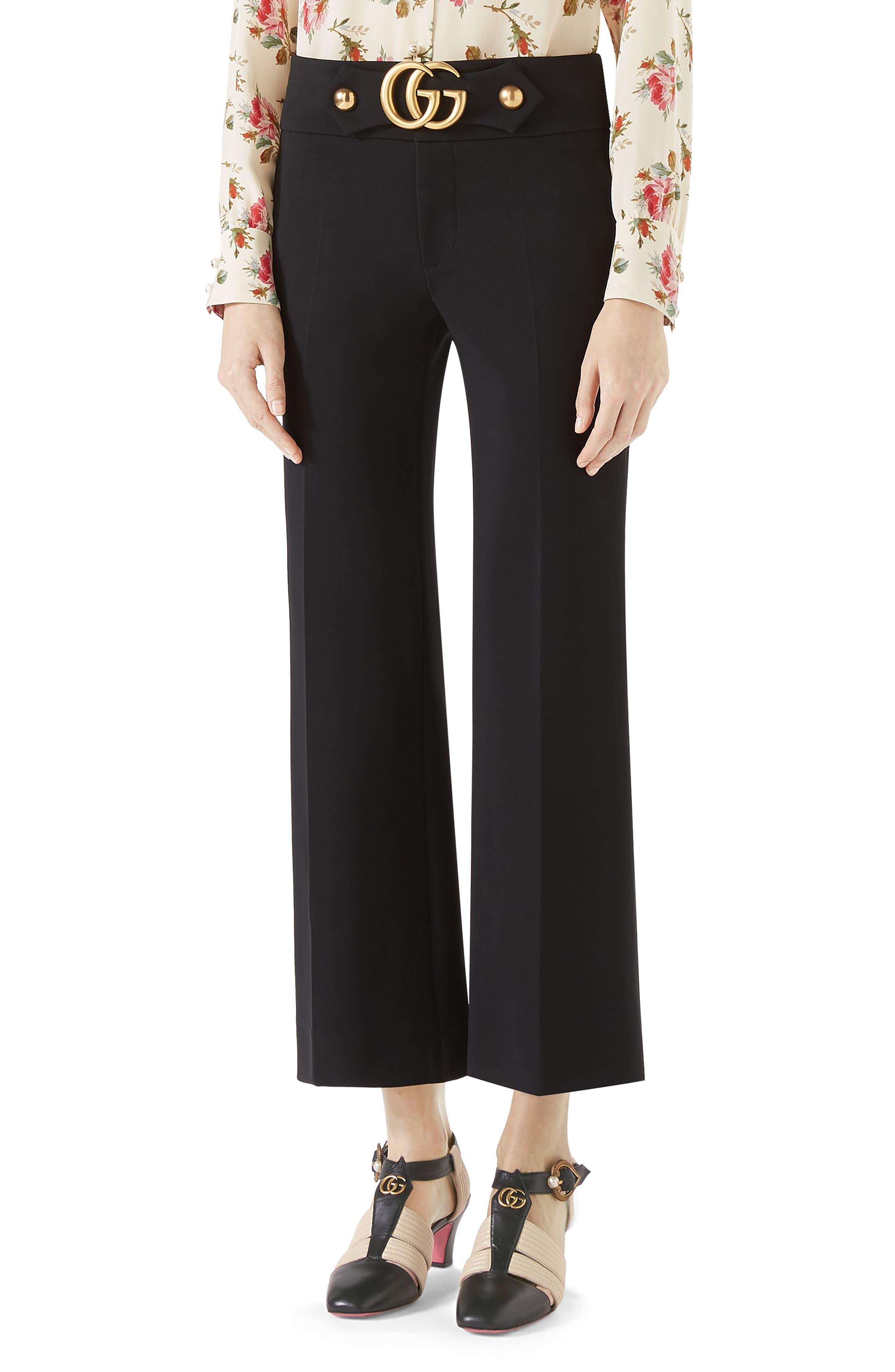 Marmont Stretch Jersey Crop Pants,                             Main thumbnail 1, color,                             BLACK