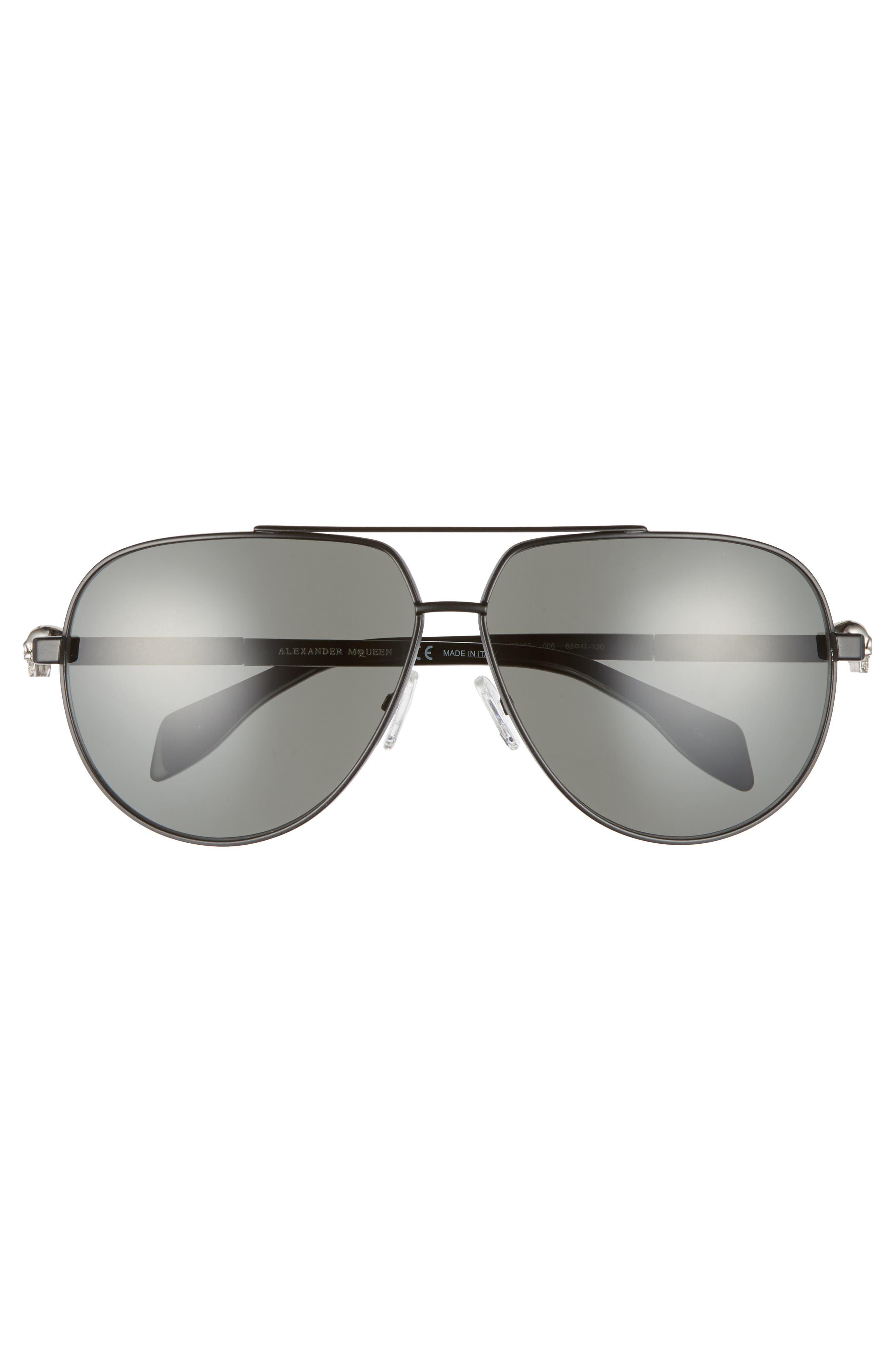 63mm Aviator Sunglasses,                             Alternate thumbnail 3, color,                             001