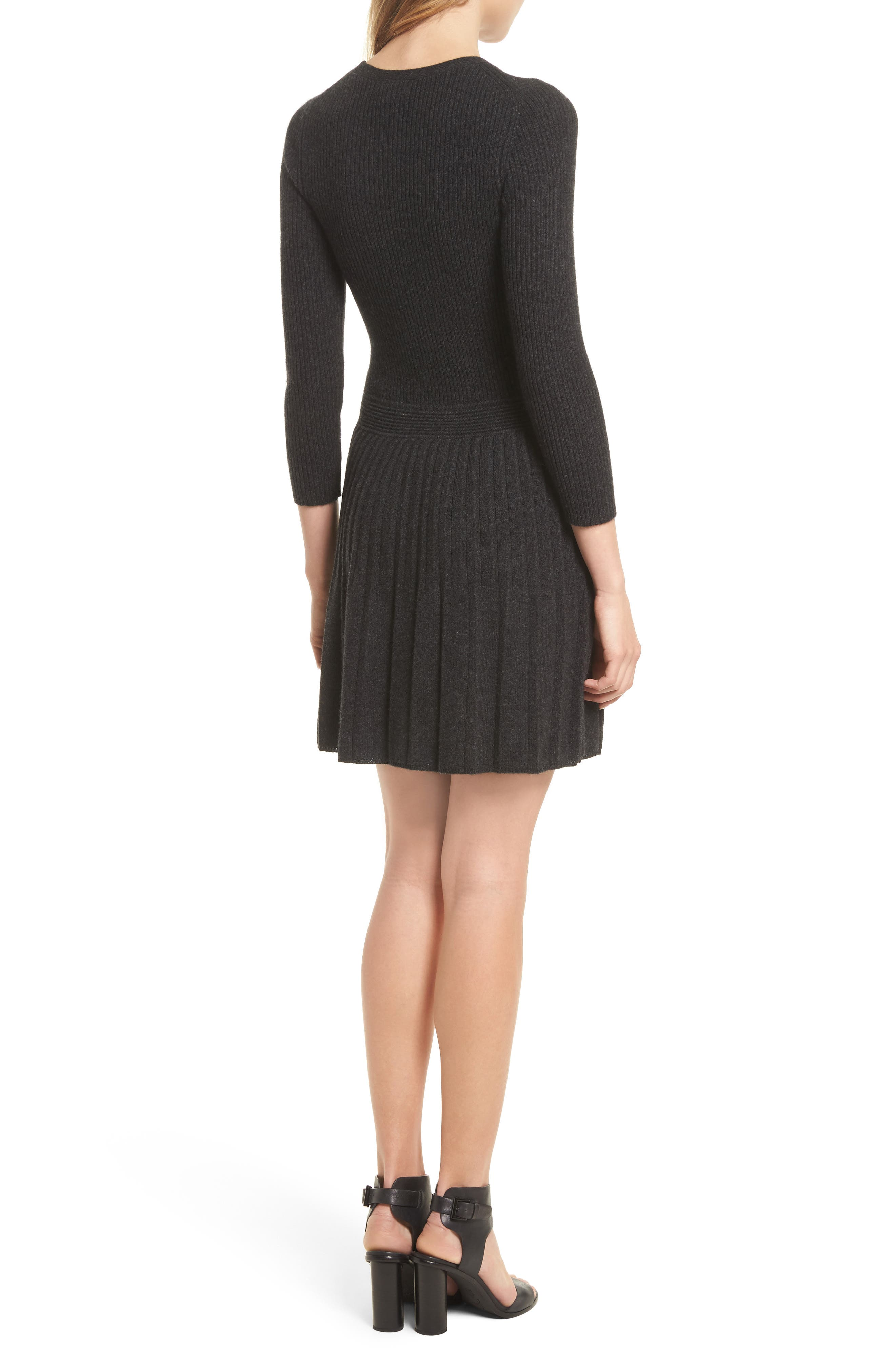 Peronne B Knit Wool & Cashmere Fit & Flare Dress,                             Alternate thumbnail 2, color,                             071