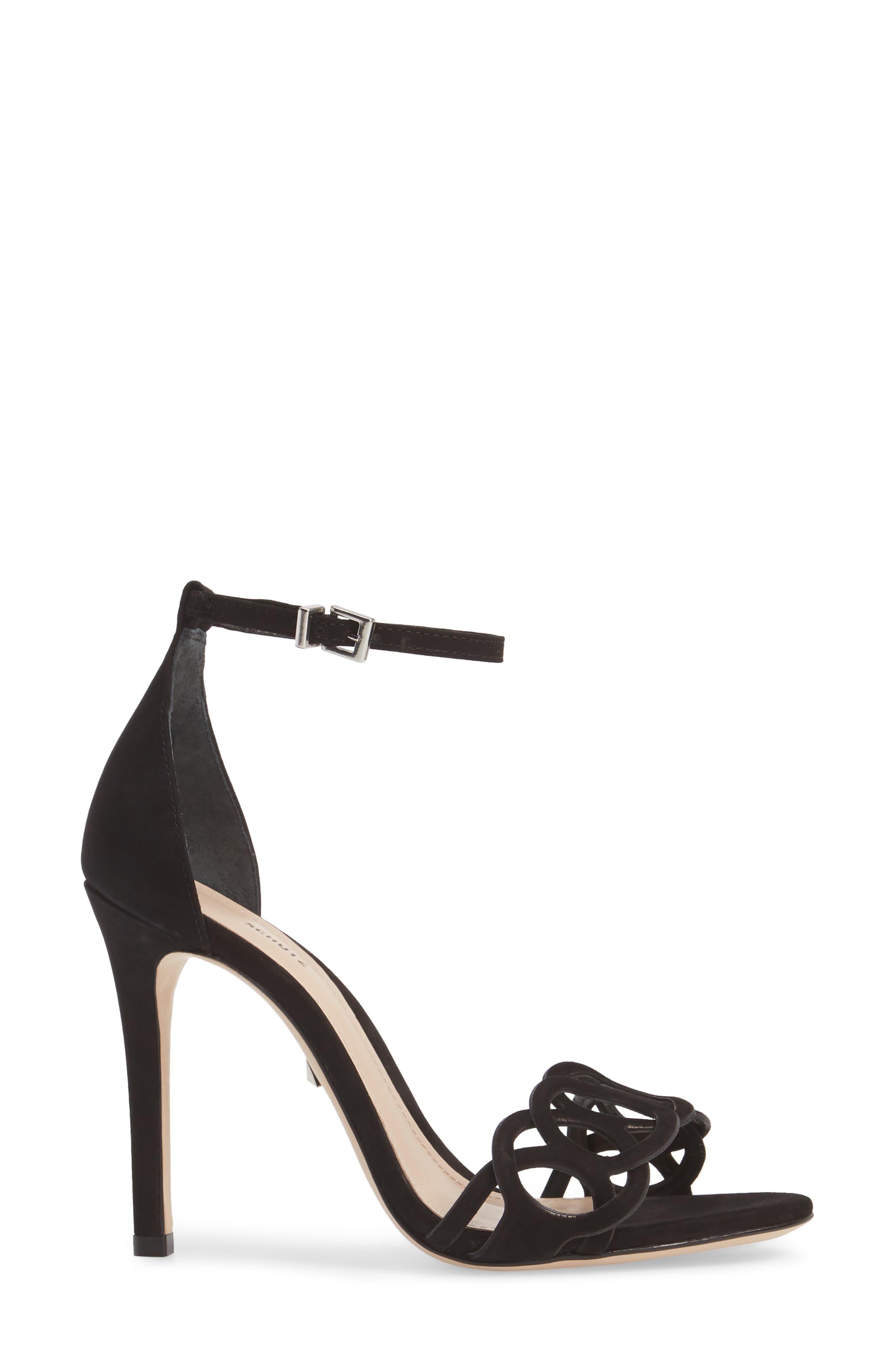 Sthefany Ankle Strap Sandal,                             Alternate thumbnail 3, color,                             BLACK LEATHER